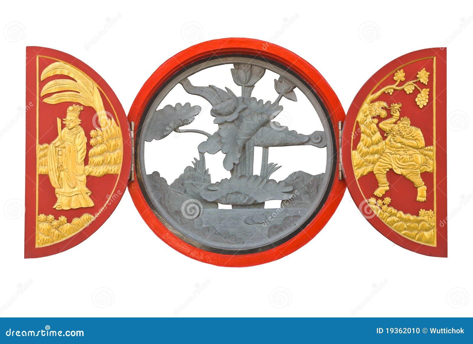 Escultura nativa do chinês no indicador de madeira