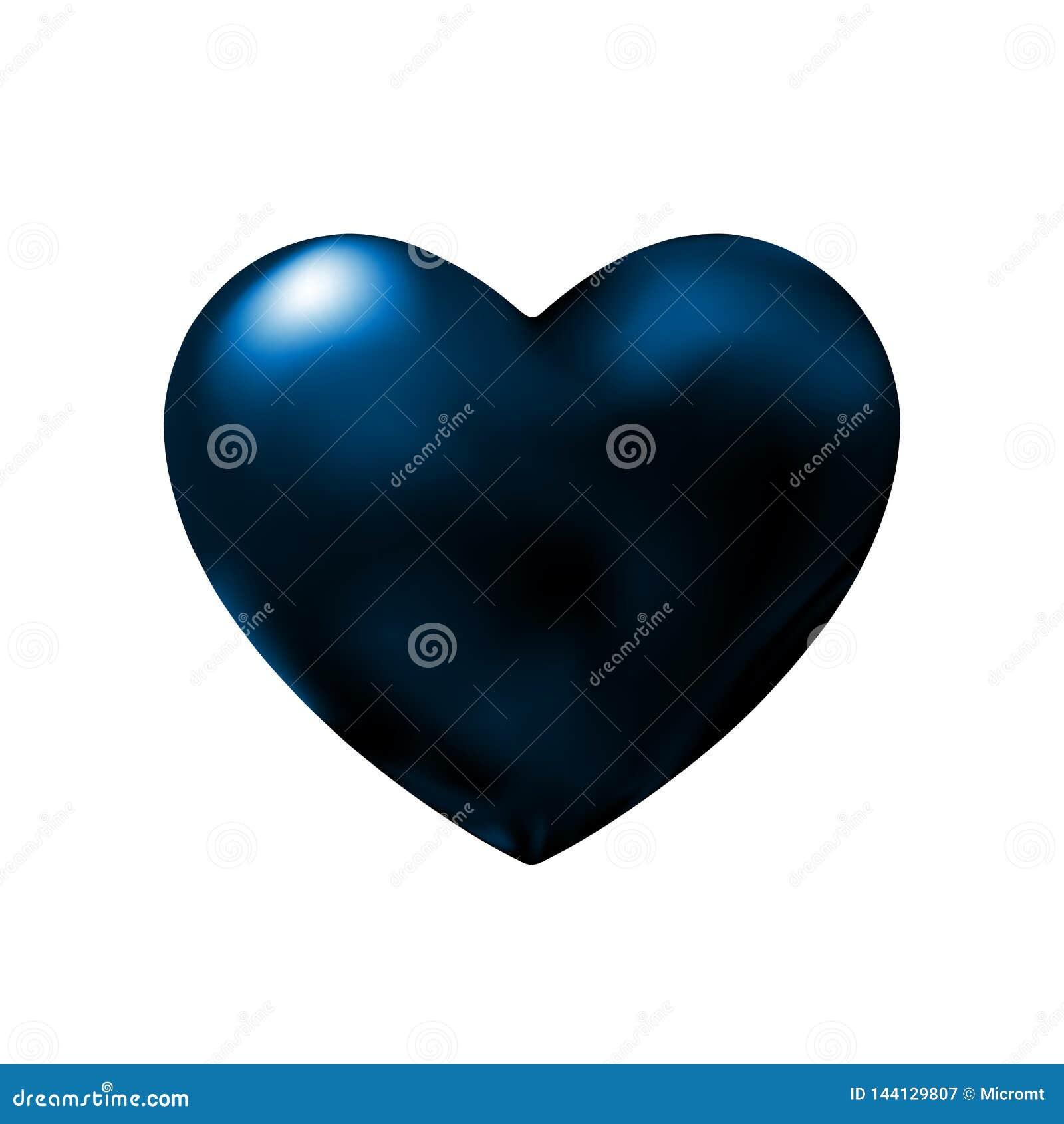 Escuro - elemento abstrato do projeto do coração azul para o dia de Valentim Abstração escura do ícone na noite Ilustração do vet