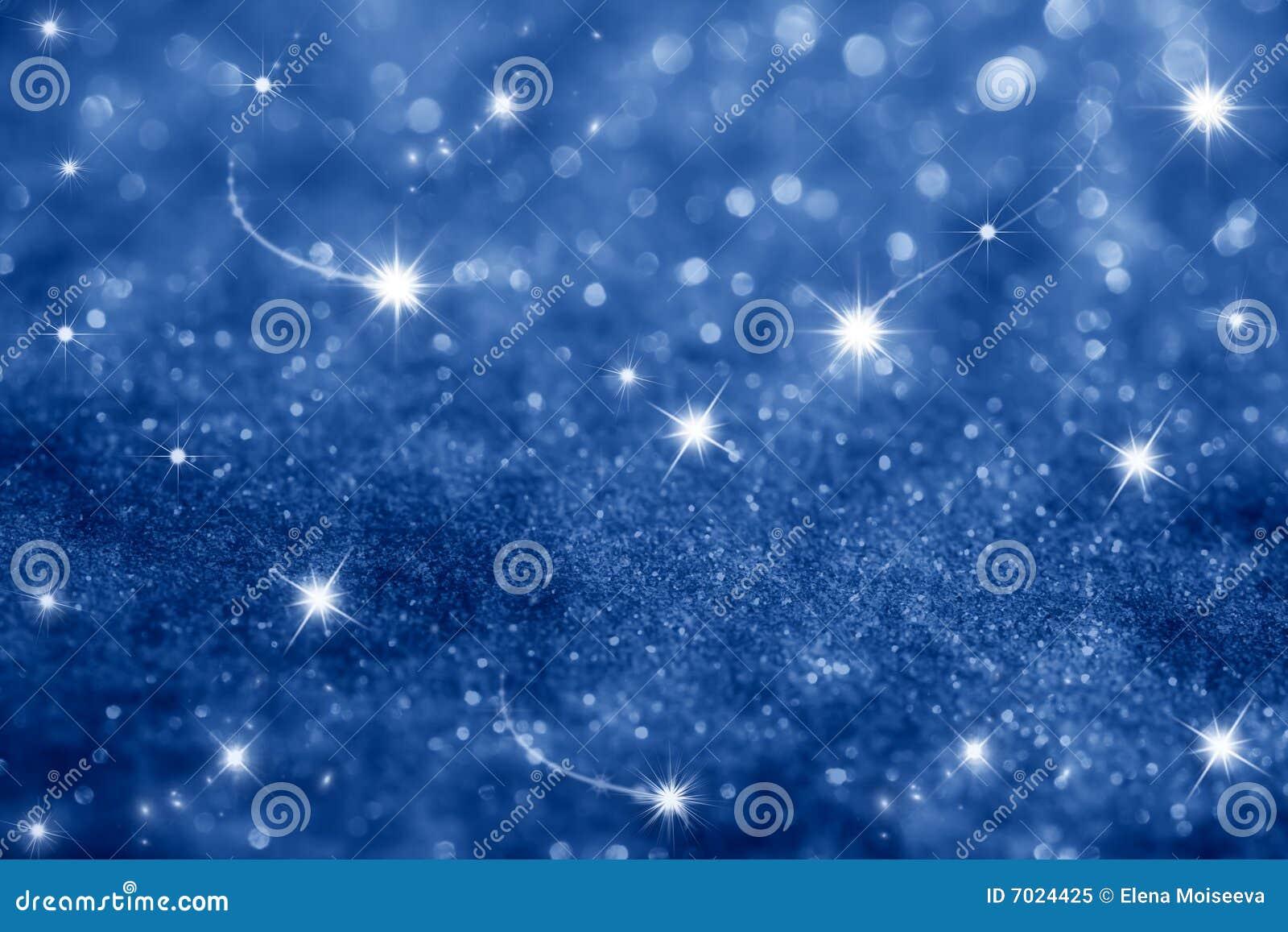 Escuro - fundo das estrelas azuis e dos sparkles do glitter