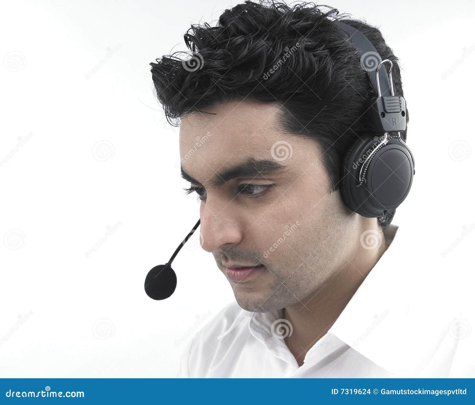 Esecutivo maschio del centro di chiamata