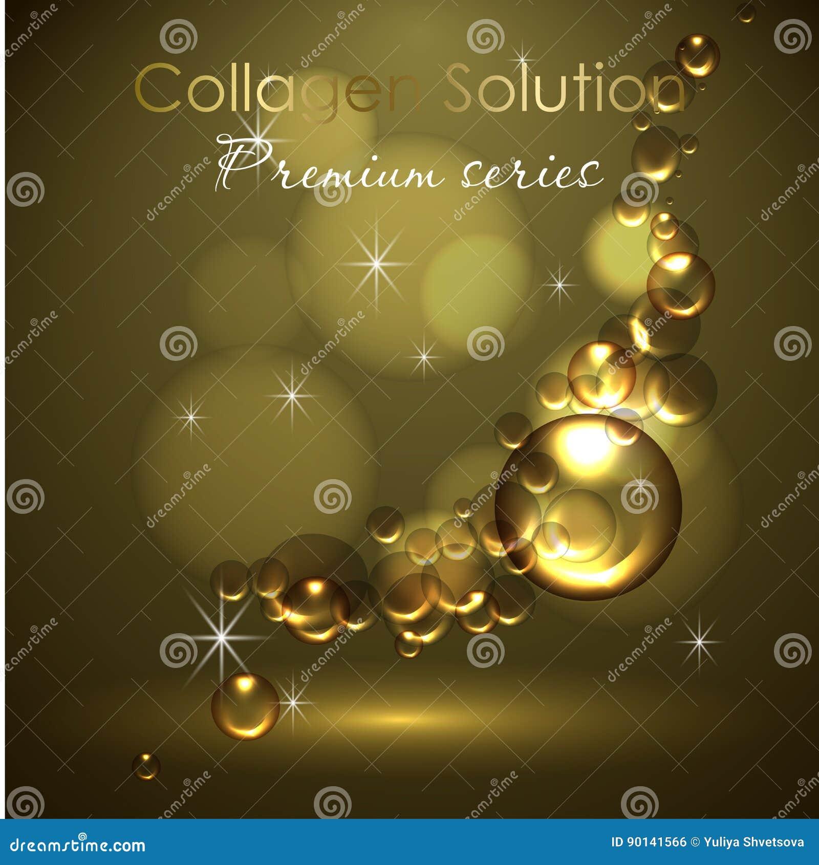 Esencia y una crema para el cuidado de piel ejemplo realista del vector 3d Solución del colágeno, descensos del aceite El diseño