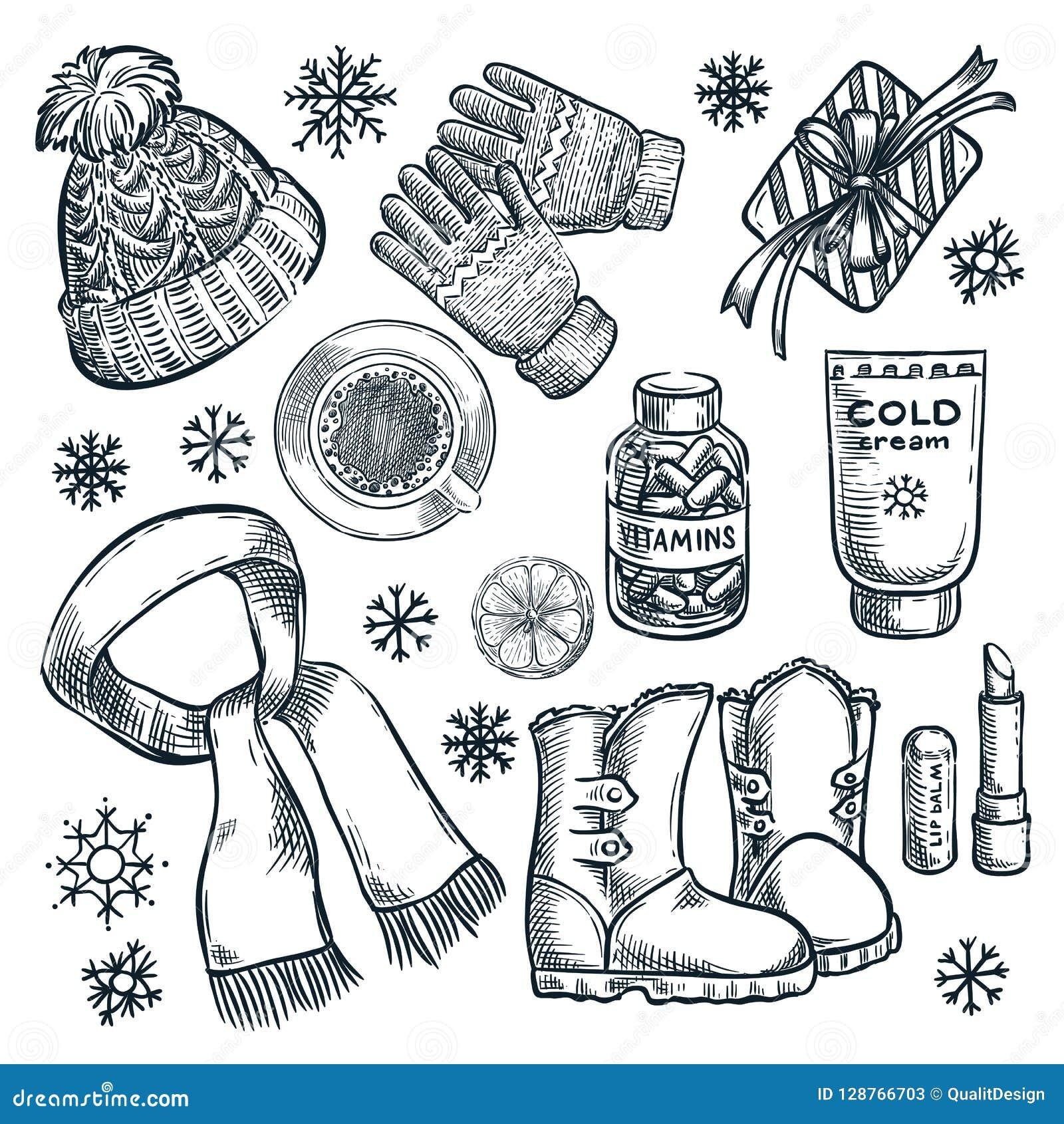 Esencial del invierno y del otoño, ejemplo del bosquejo del vector Ropa de moda, elementos del diseño de los accesorios de la caí