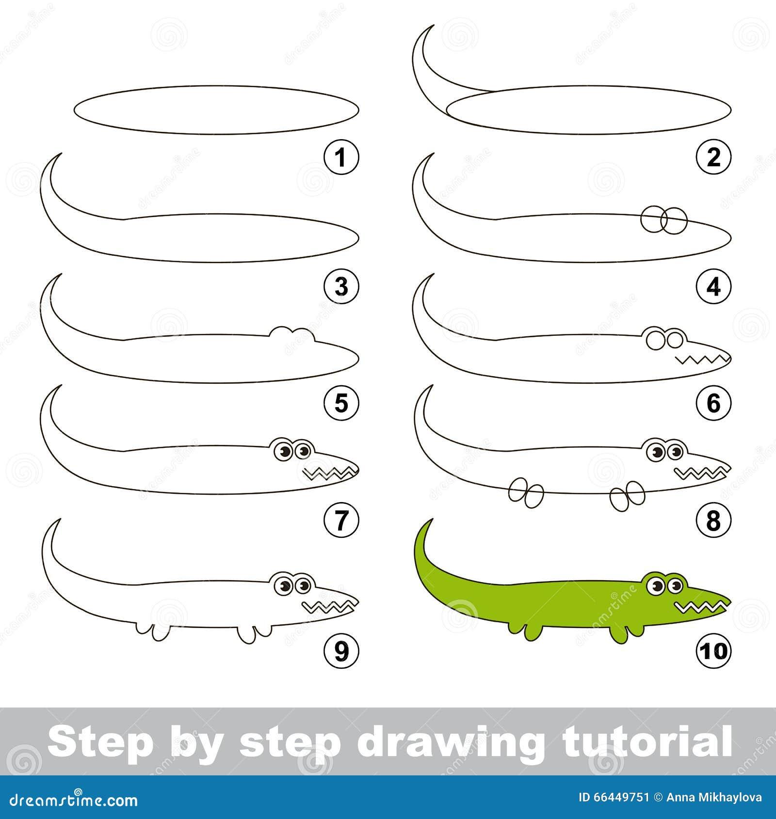 Esercitazione Del Disegno Come Disegnare Un Alligatore Illustrazione