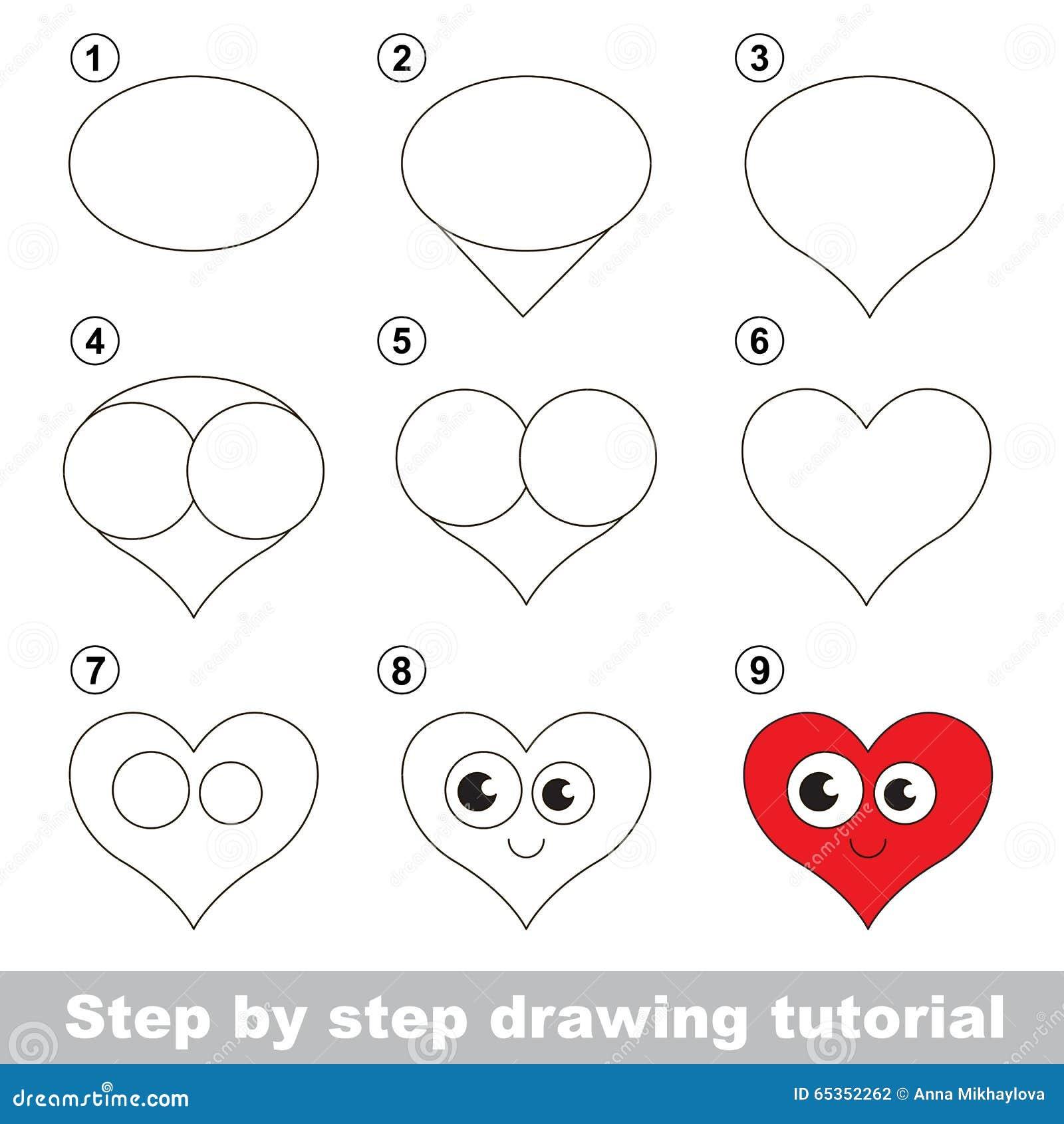 Esercitazione Del Disegno Come Disegnare Un Cuore Illustrazione