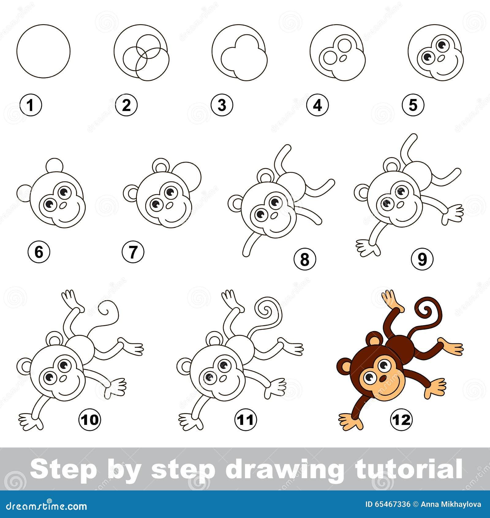 Esercitazione Del Disegno Come Disegnare Una Scimmia Divertente
