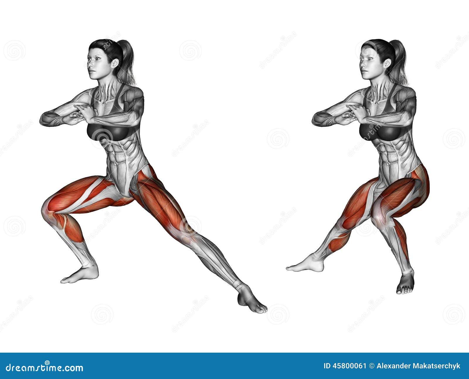 Esercitazione di forma fisica Affondo del lato femmina