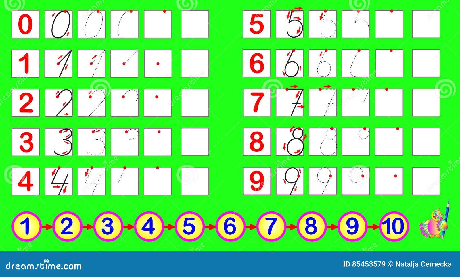 Esercizi per i bambini piccoli debba disegnare i numeri - Colore per numeri per i bambini ...