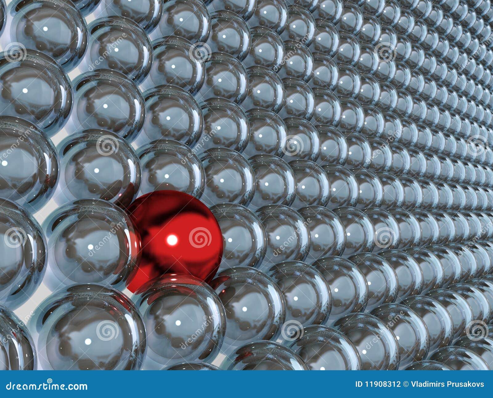 Esfera 3d vermelha como a individualidade