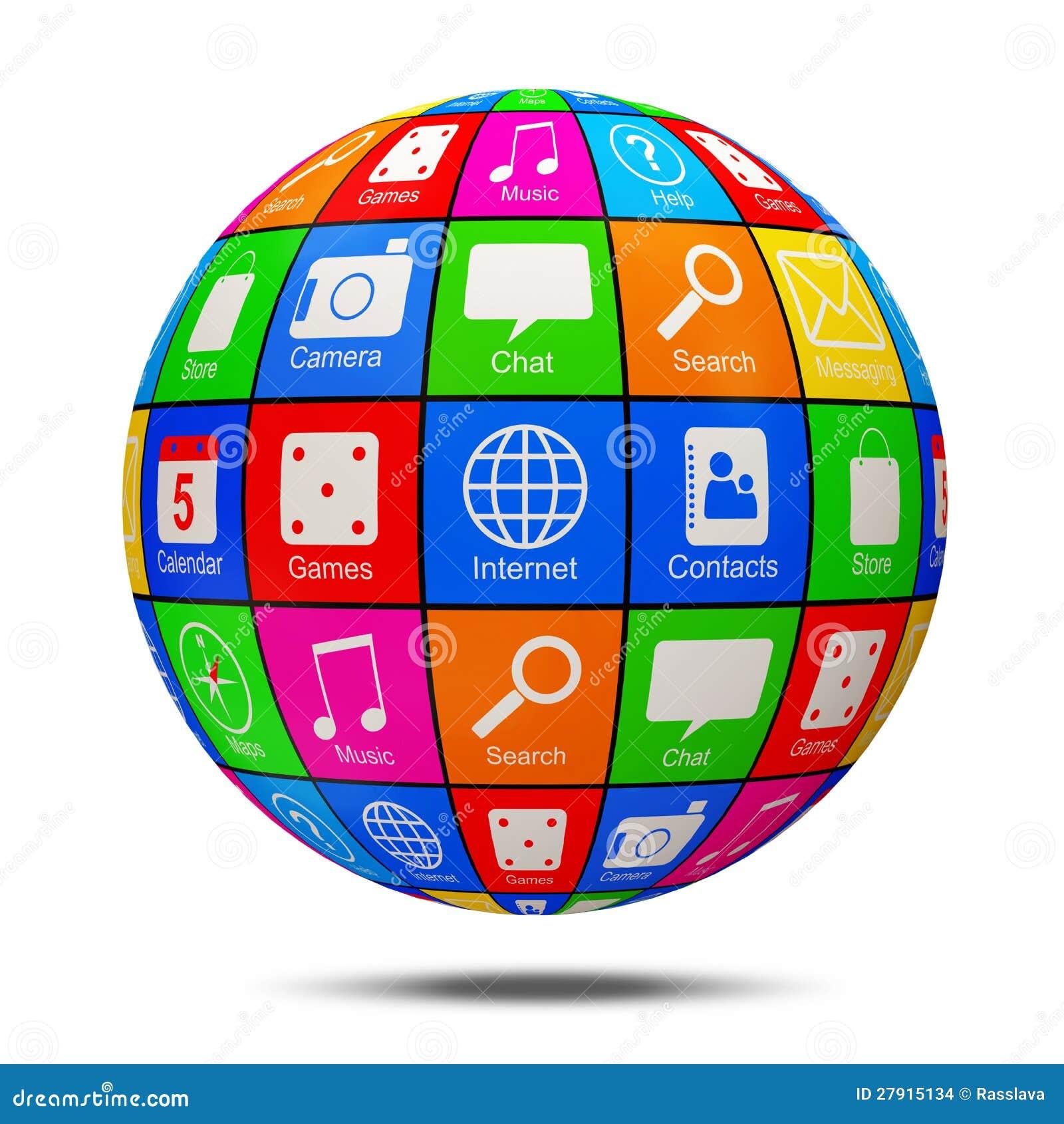 Esfera abstrata do APP com ícones da aplicação