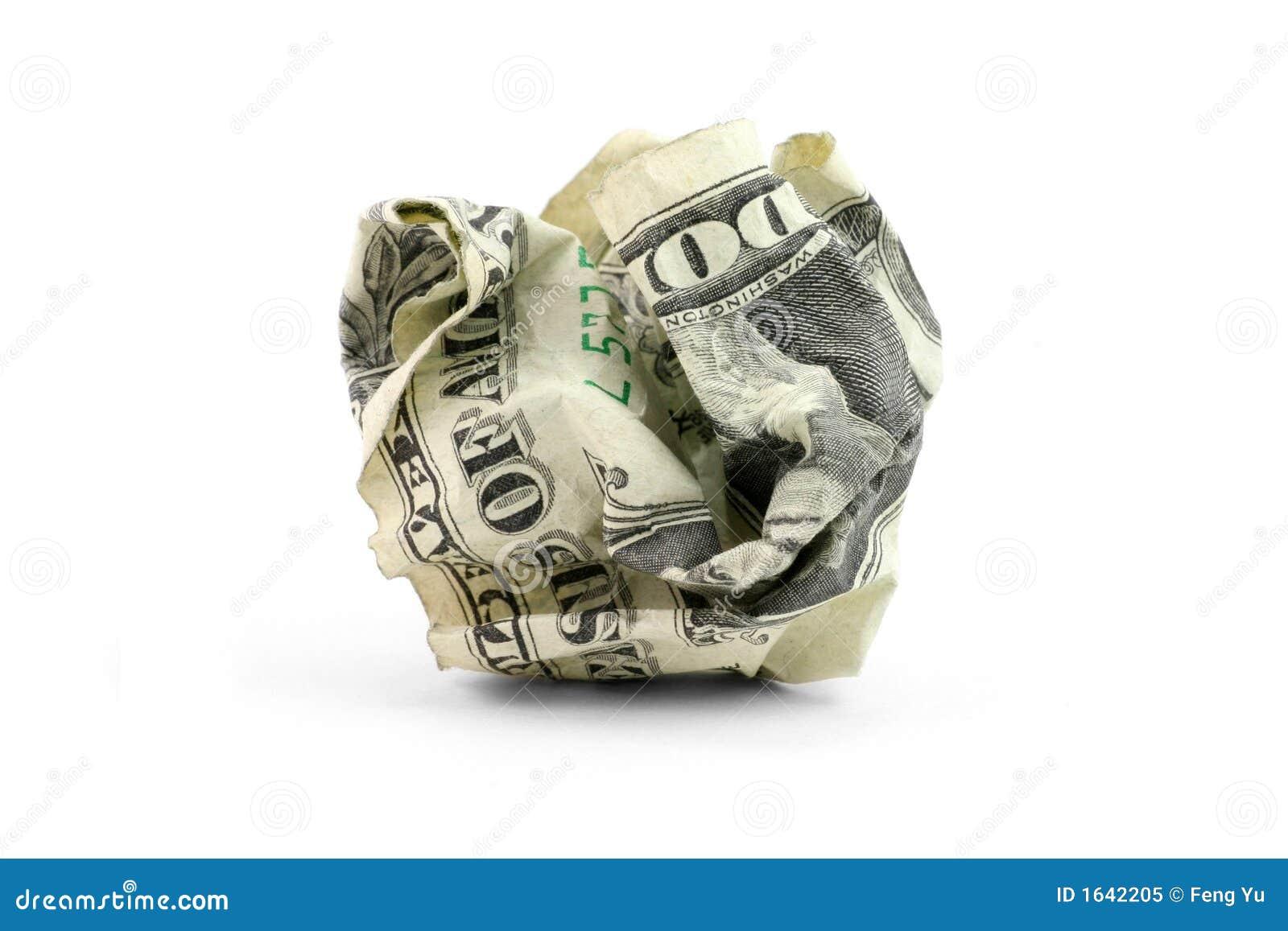 Esfera amarrotada do dólar dos EUA