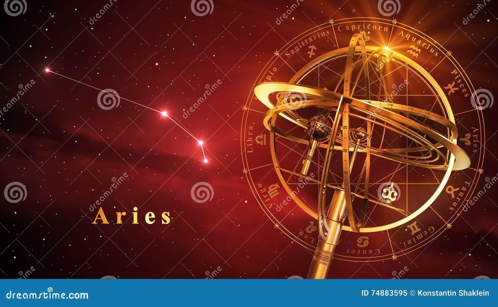 Esfera Armillary e constelação Aries Over Red Background