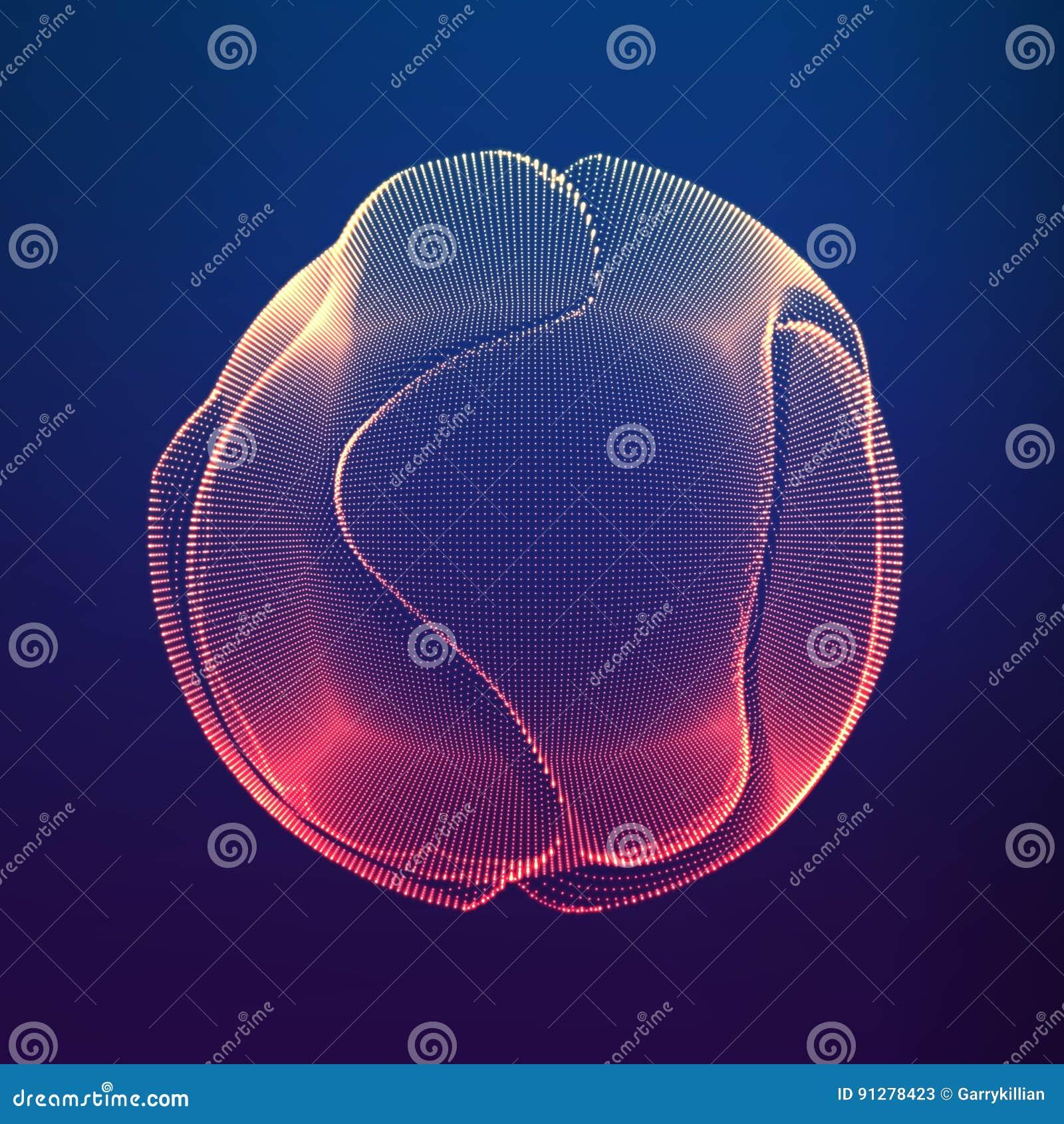 Esfera colorida de la malla del vector abstracto en fondo violeta oscuro Tarjeta futurista del estilo
