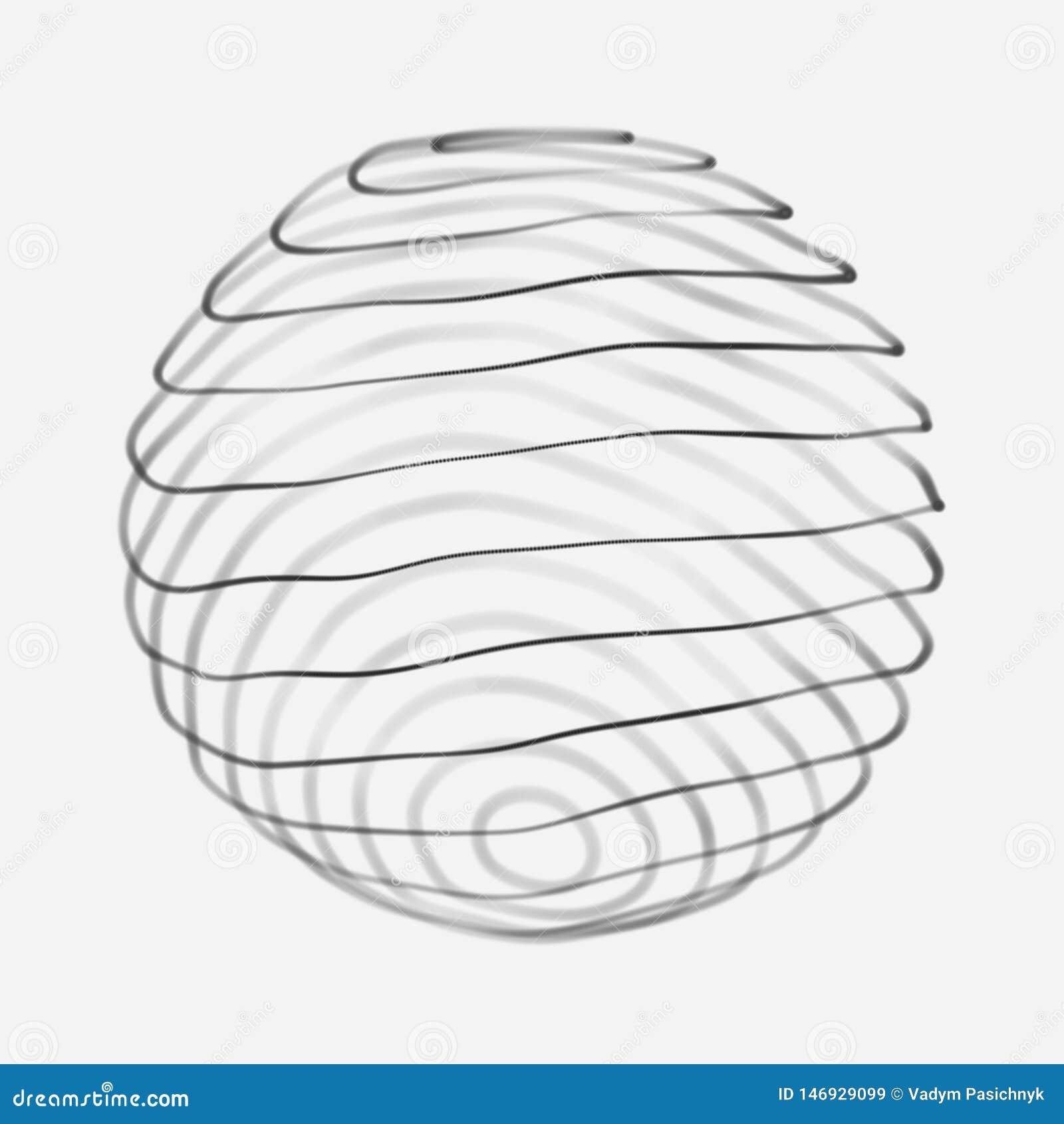 Esfera 3d abstrata Esfera com linhas da tor??o Linhas de incandesc?ncia que torcem o projeto do logotipo Objeto do espa?o Estilo