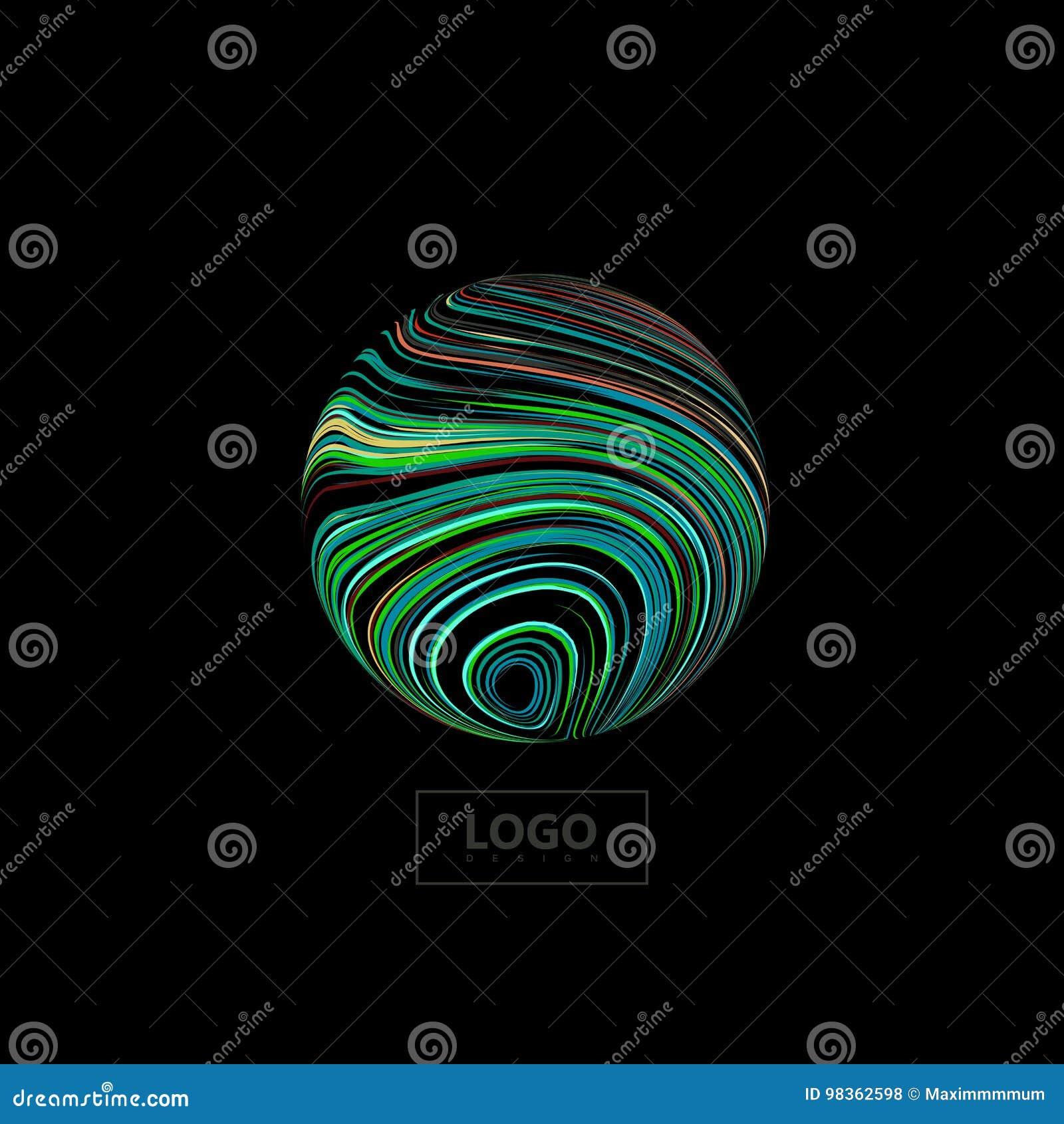 Esfera 3D abstrata textured com linhas coloridas rodadas