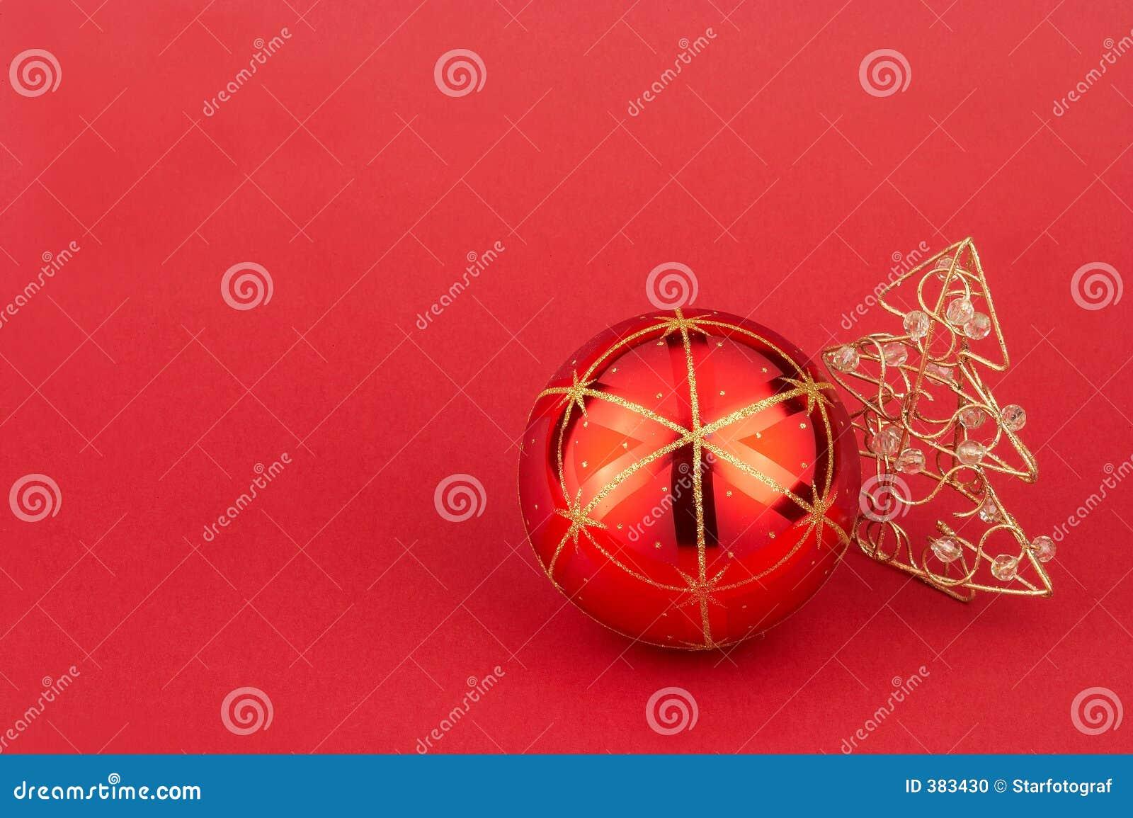 Esfera da árvore de Natal e árvore de Natal vermelhas - Weihnachtskuge rote