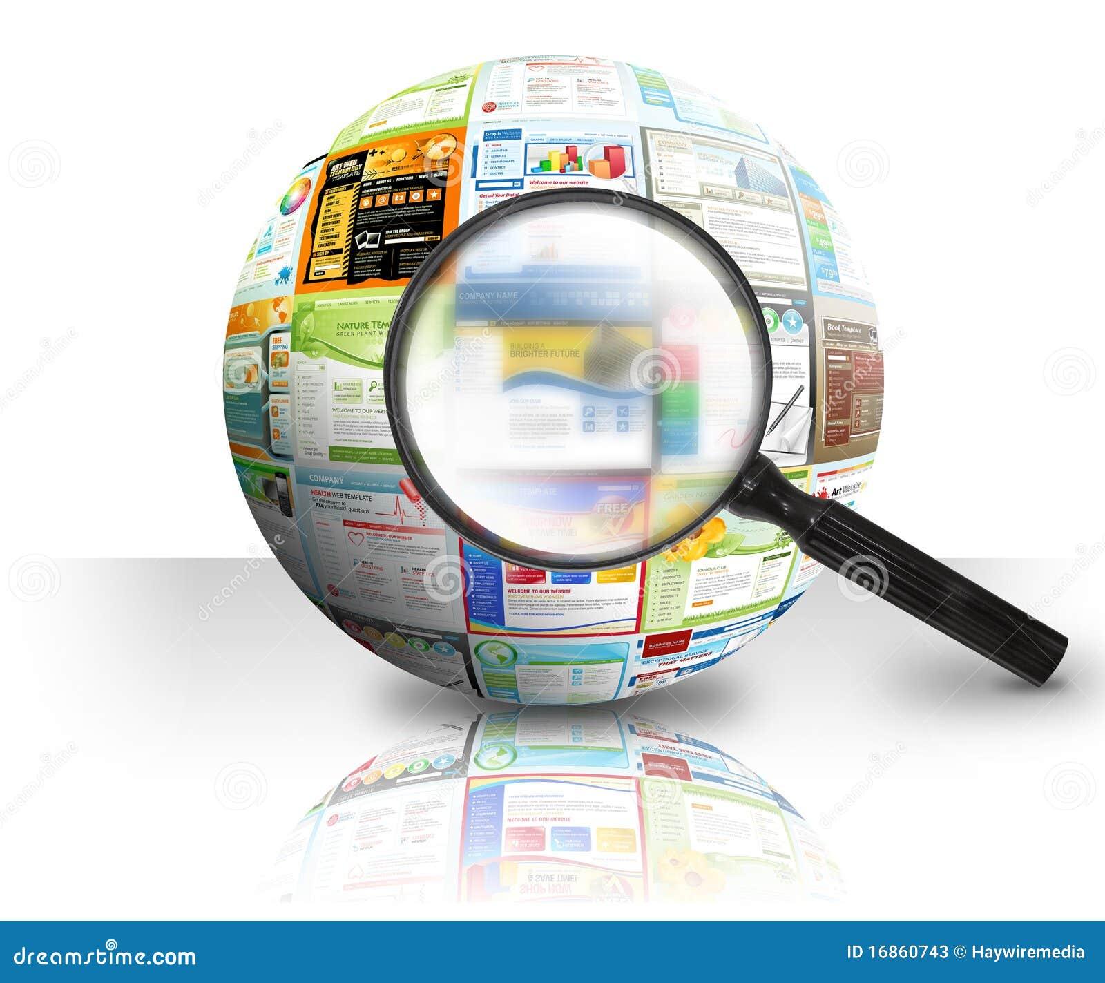 Esfera da busca 3D do Web site do Internet