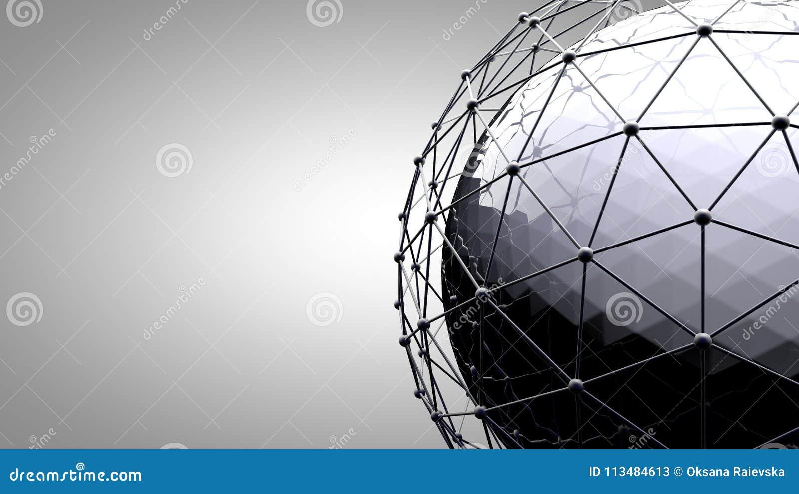 Esfera de conexão de Wireframe Linhas da conexão em torno do globo da terra O conceito da rede social, conexão do globo