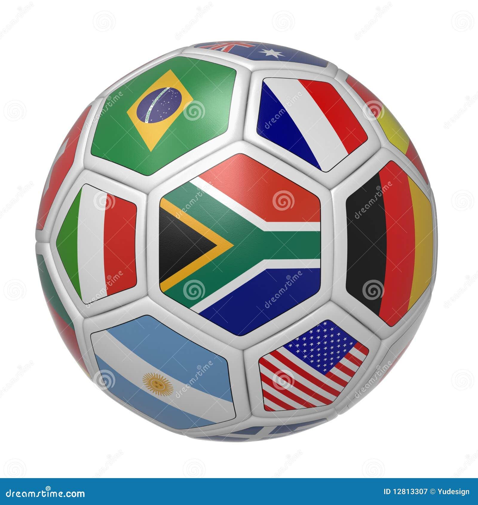 Esfera de futebol com sul - bandeira africana na parte dianteira