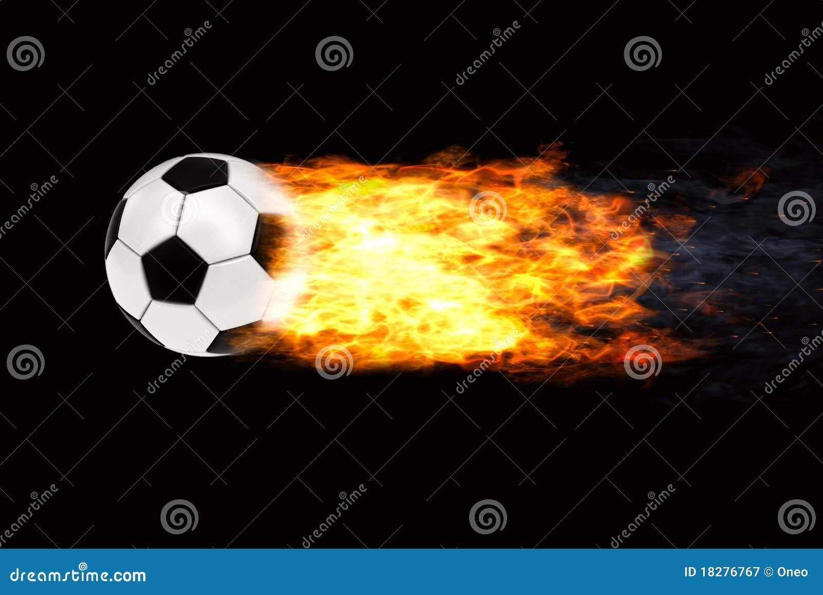 Esfera de futebol nas flamas