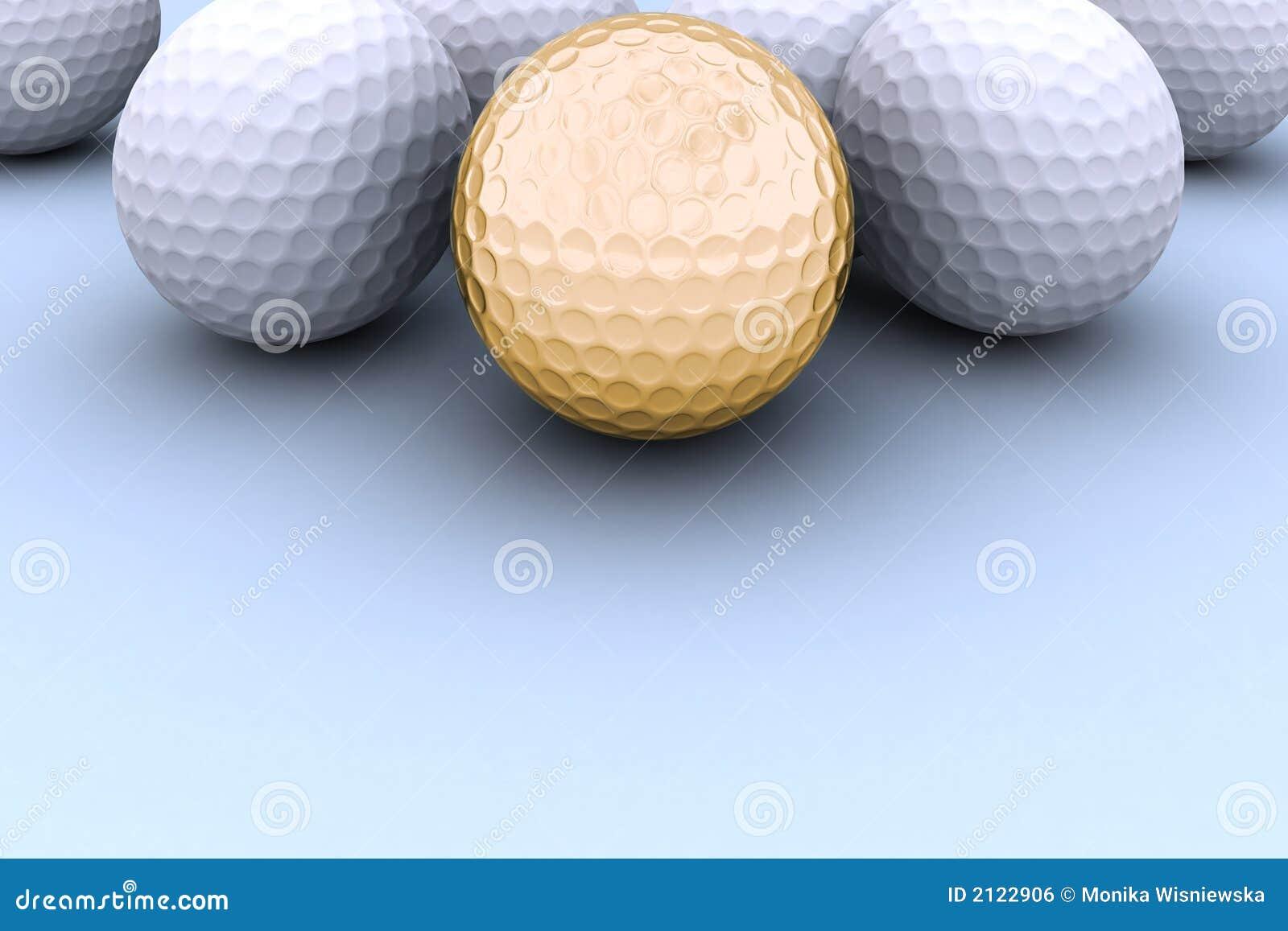 Esfera de golfe dourada