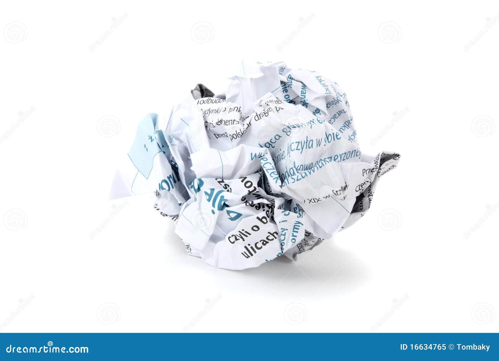 Esfera de papel amarrotada