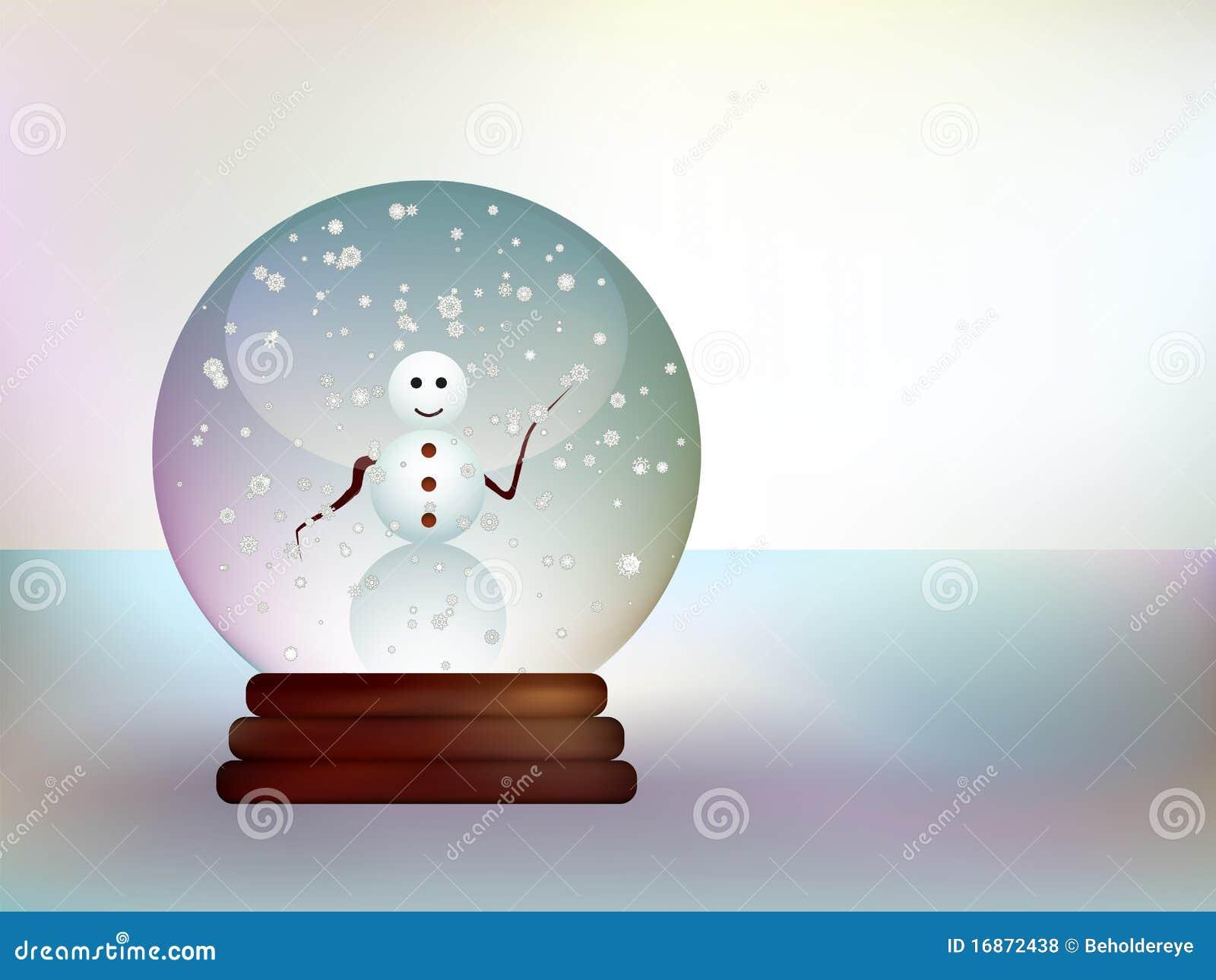 Esfera de vidro com um boneco de neve em uma paisagem nevado.