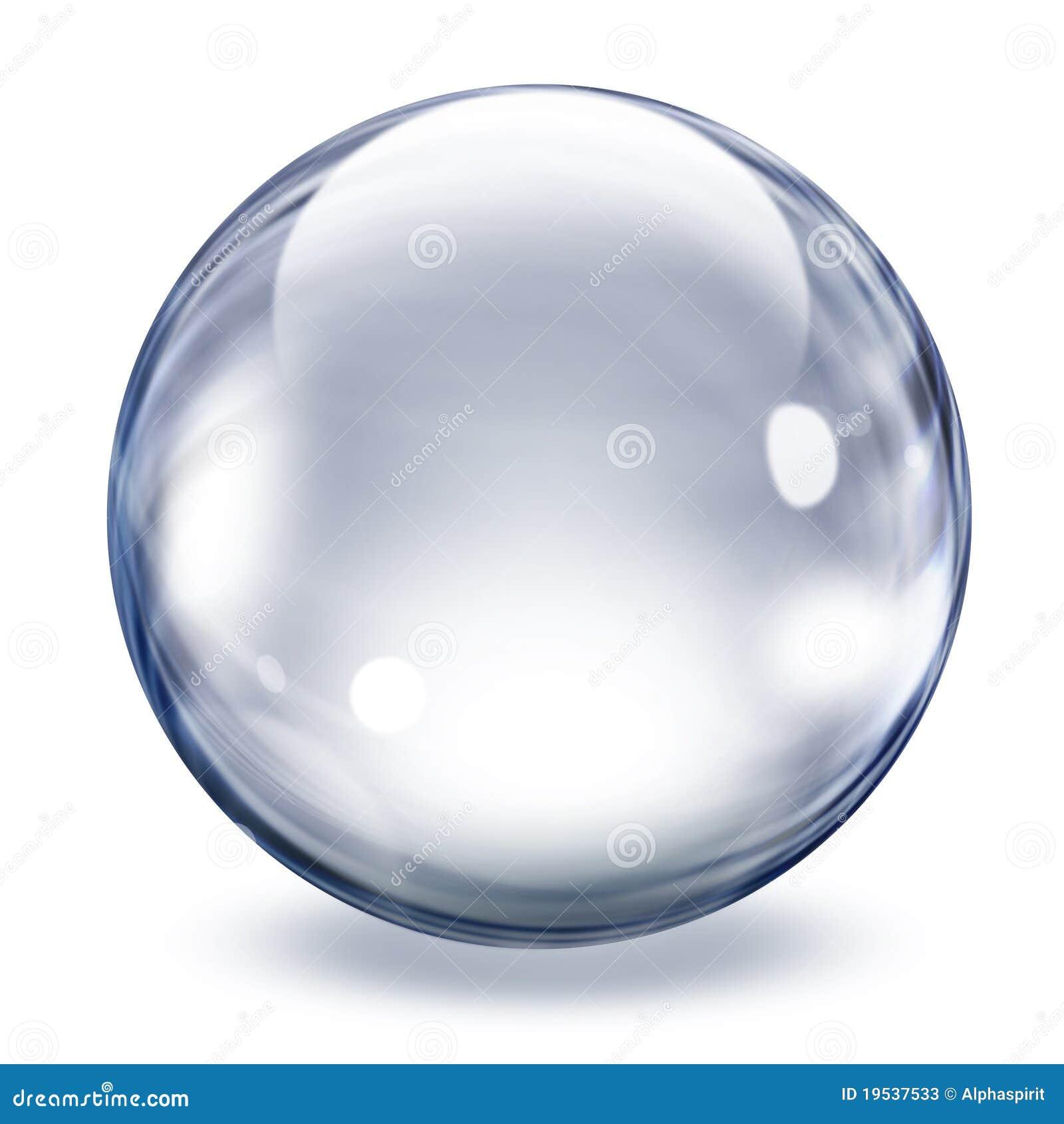 Esfera de vidro transparente