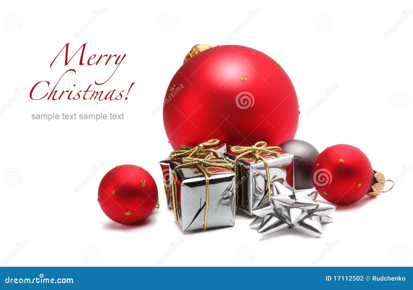 Esfera do Natal e caixa de presente