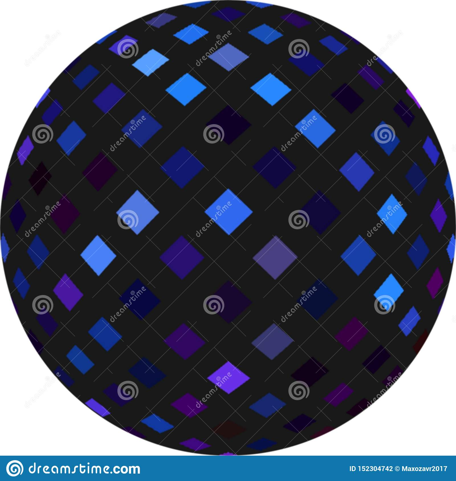 Esfera do preto 3d com teste padrão de mosaico brilhando azul Esfera do disco