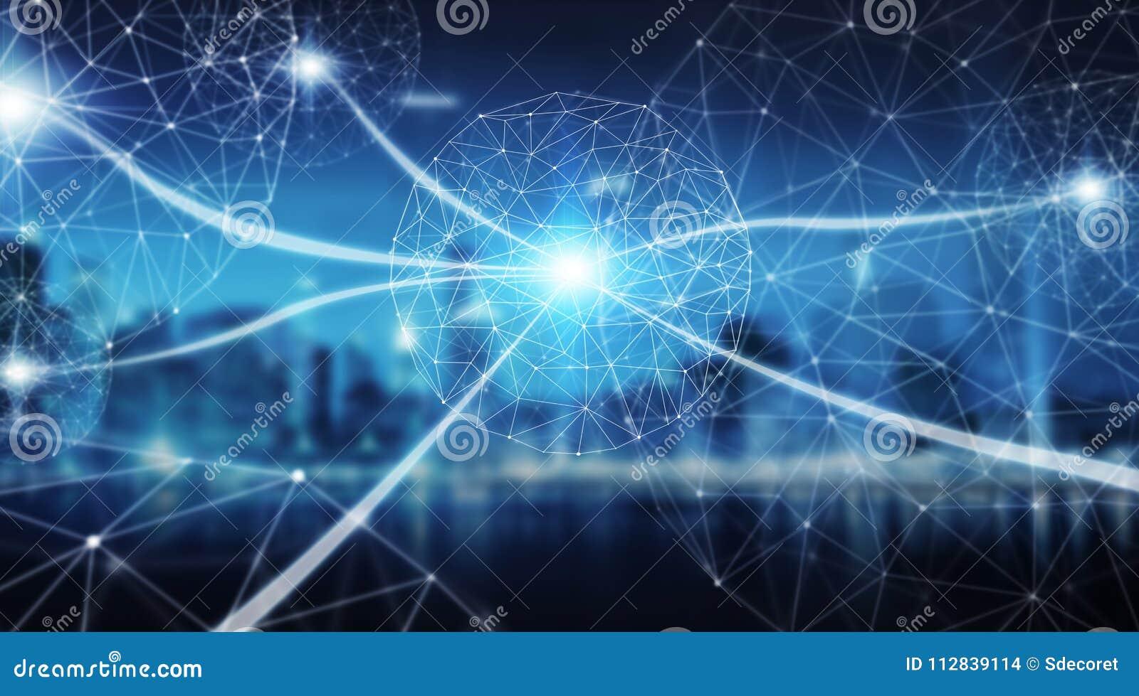 Esfera do sistema das conexões e rendição das trocas de dados 3D