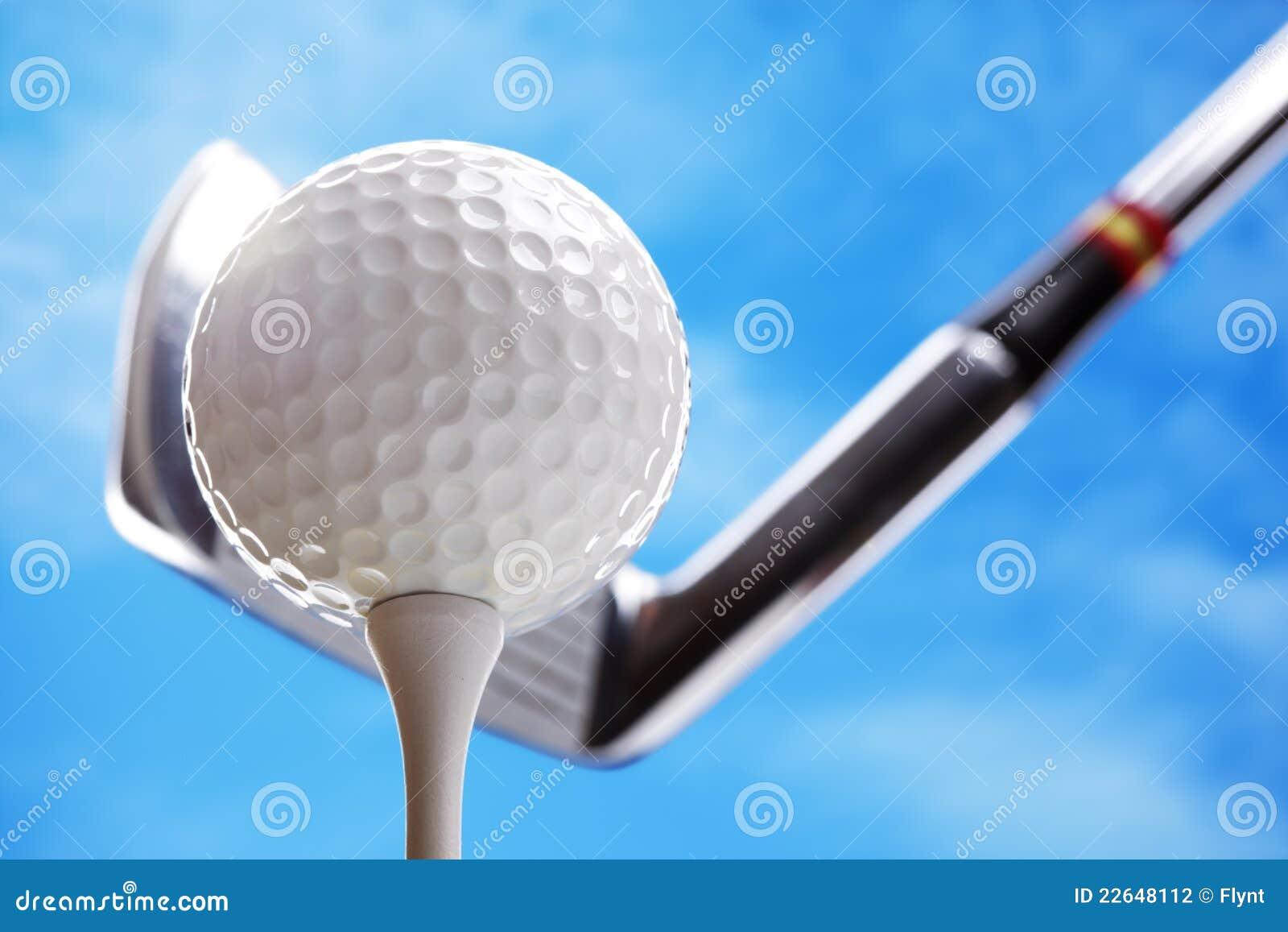 Esfera e clube de golfe