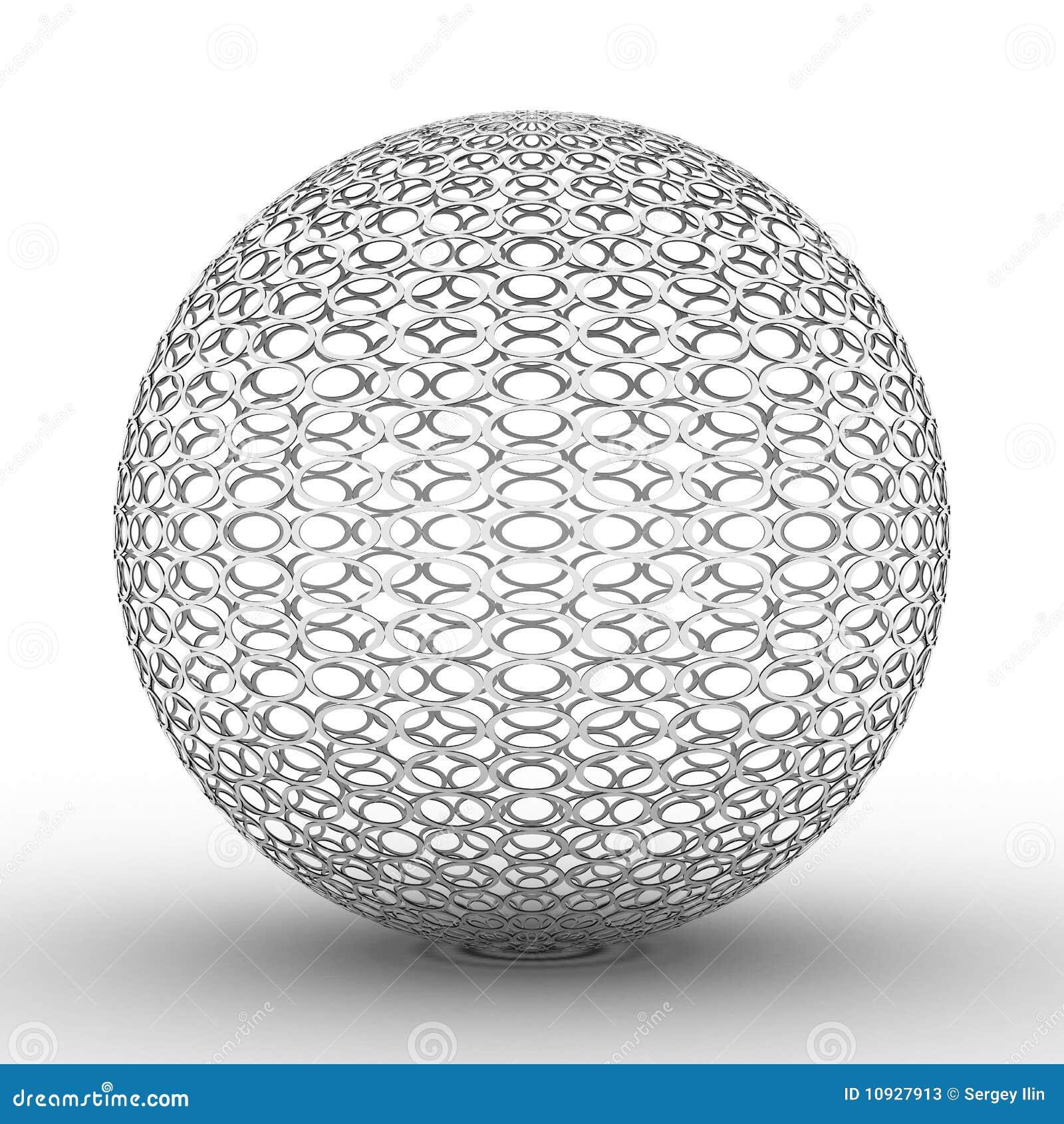 Esfera metálica no fundo branco