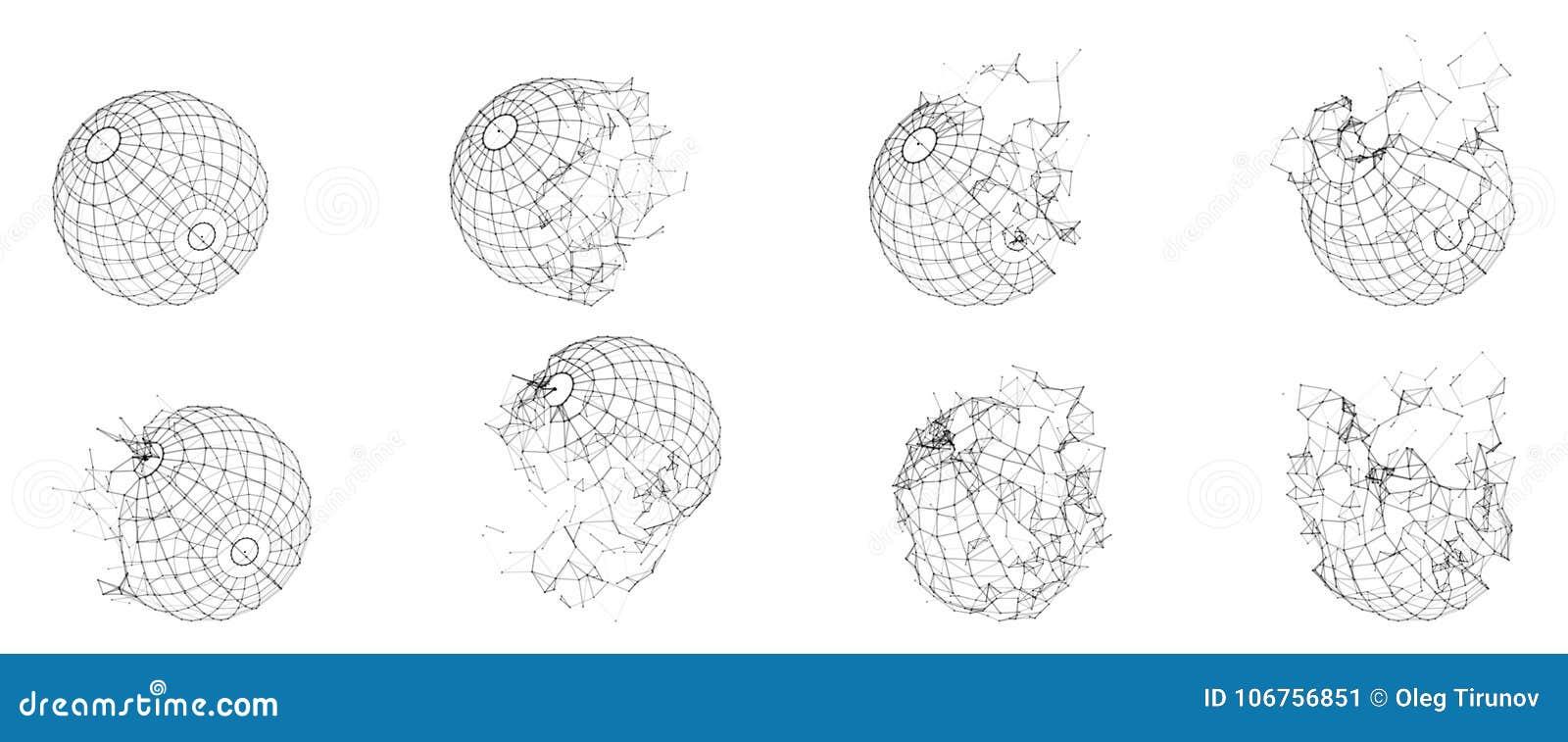 Esfera poligonal quebrada de Wireframe Formulário geométrico fraturado Linhas polígono da rede do círculo