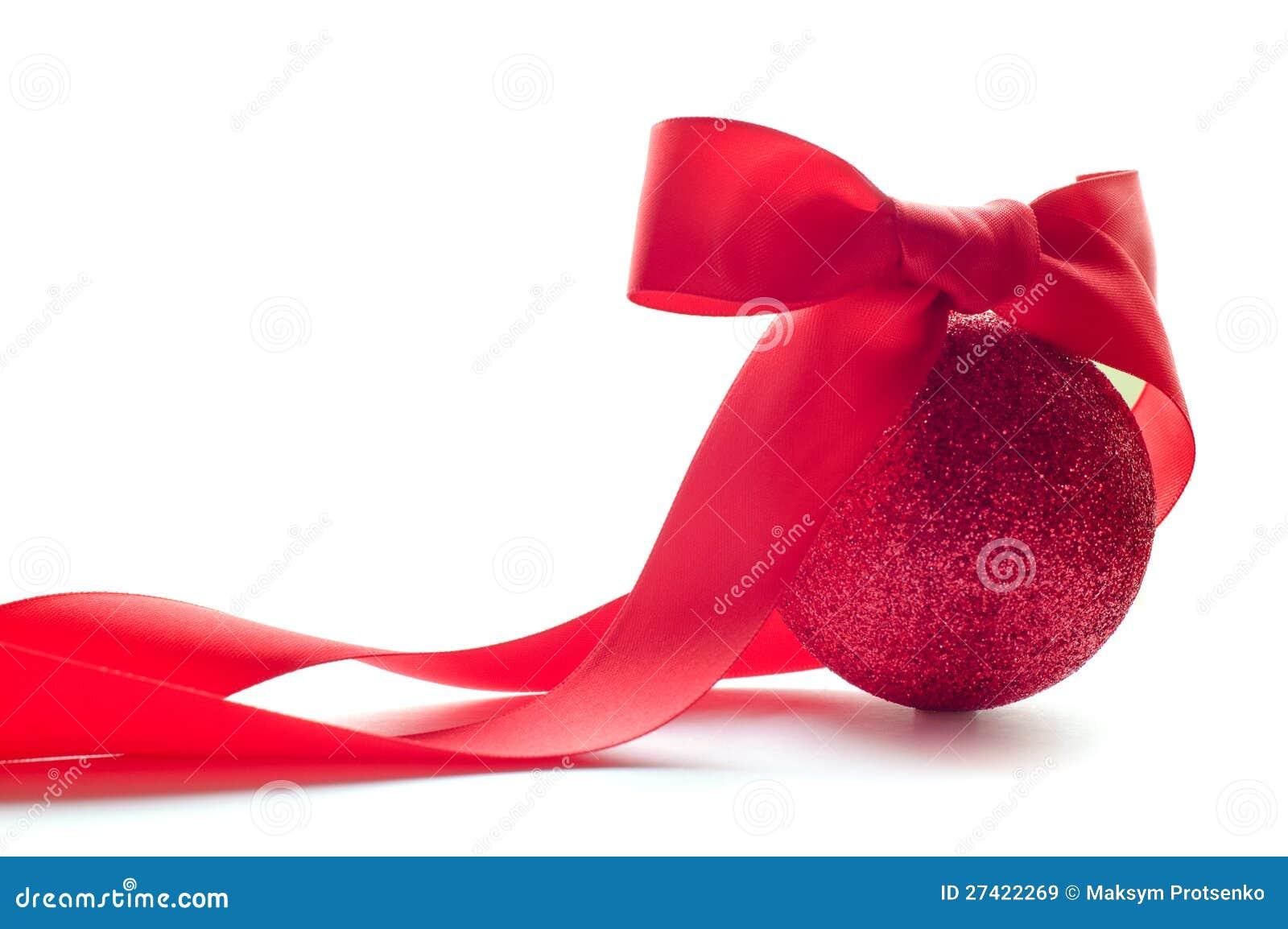 Esfera vermelha do Natal com curva vermelha grande