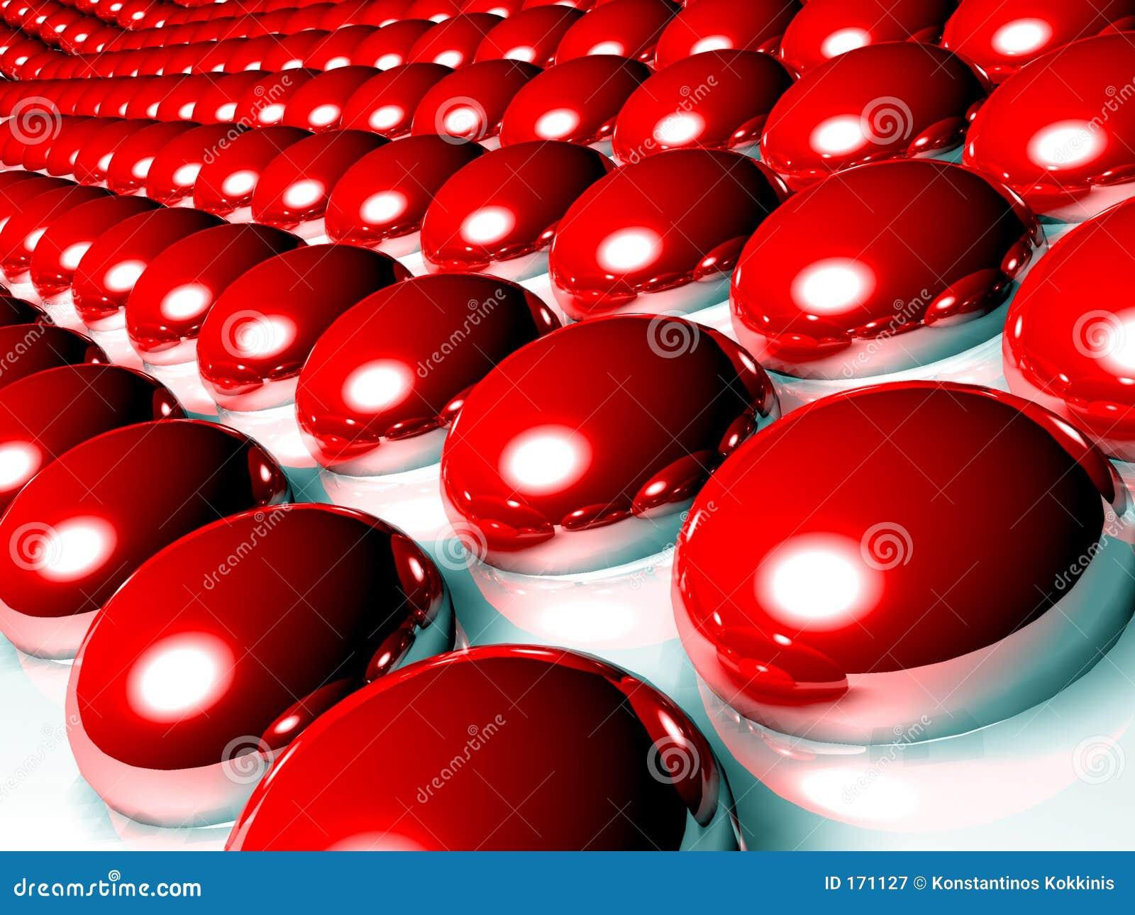 Esferas 3d vermelhas