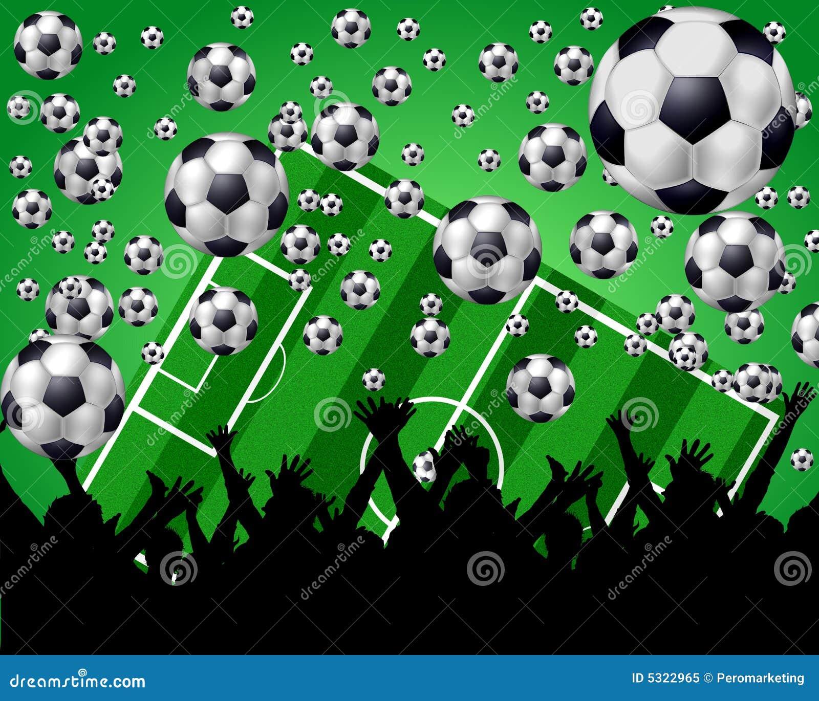 Esferas Campo E Ventiladores De Futebol No Fundo Verde