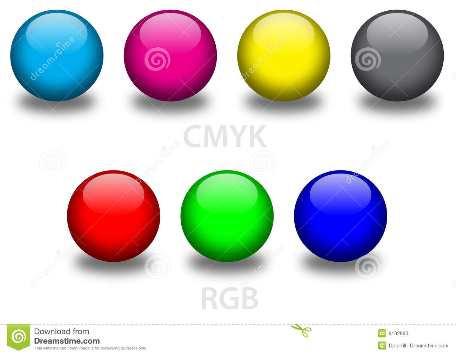 Esferas de vidro de CMYK e de RGB