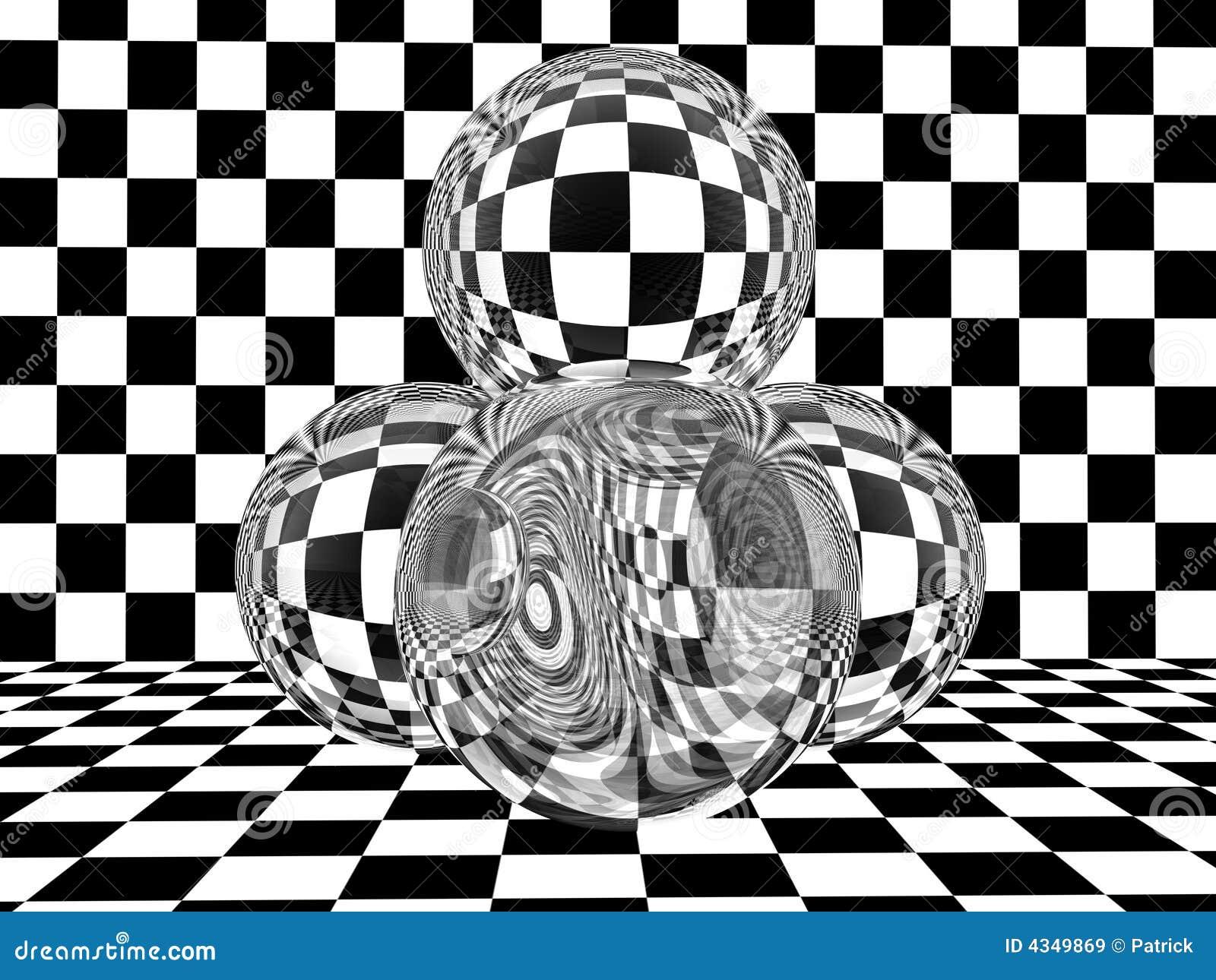 Esferas de vidro no tabuleiro de damas