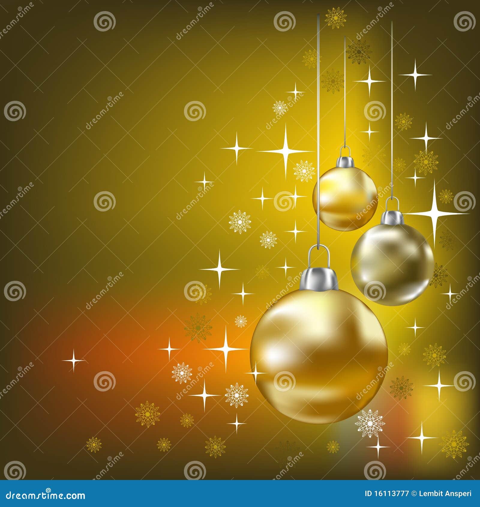 Esferas do Natal e fundo dourado das estrelas