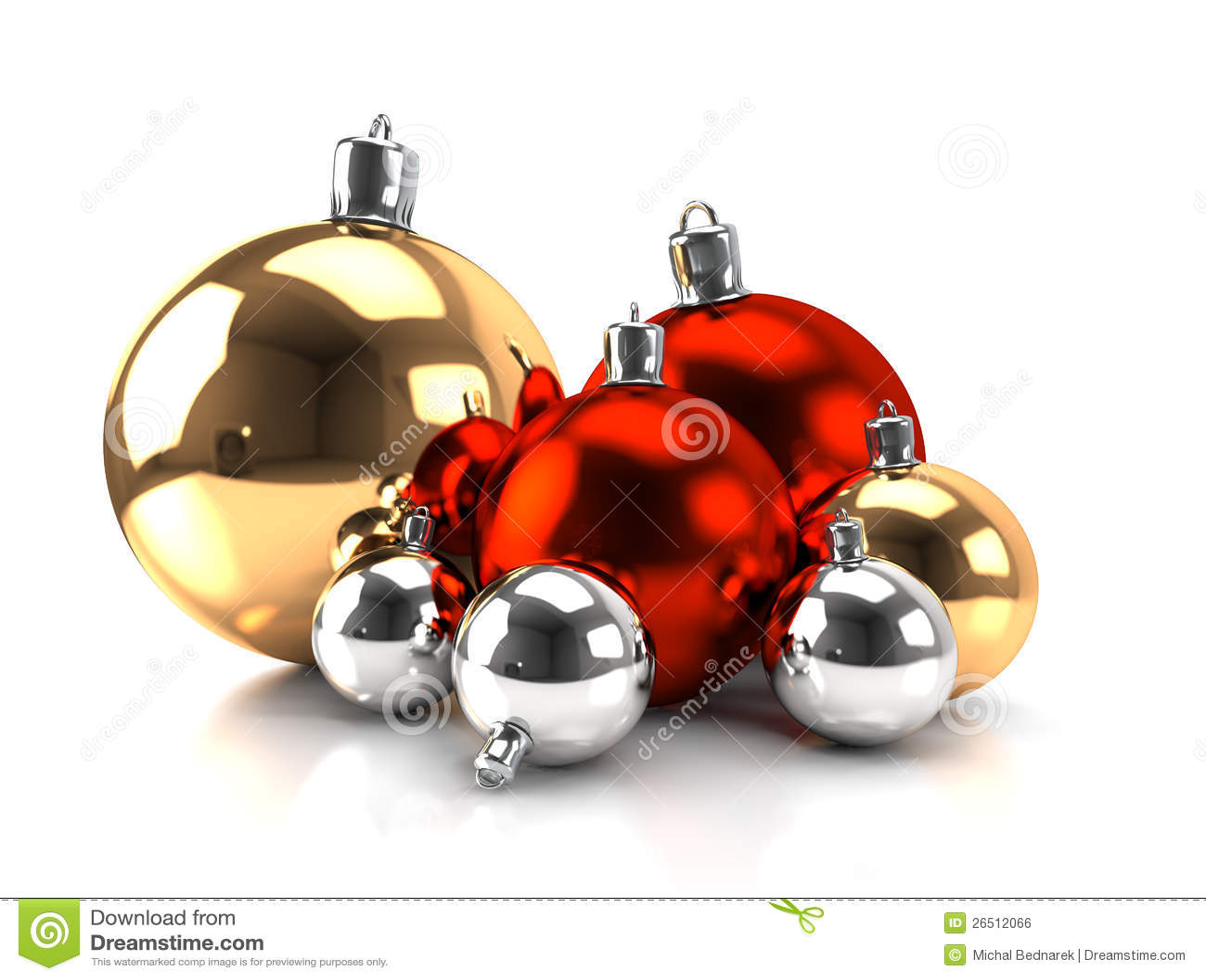 Esferas do Natal - ouro, vermelho, prata