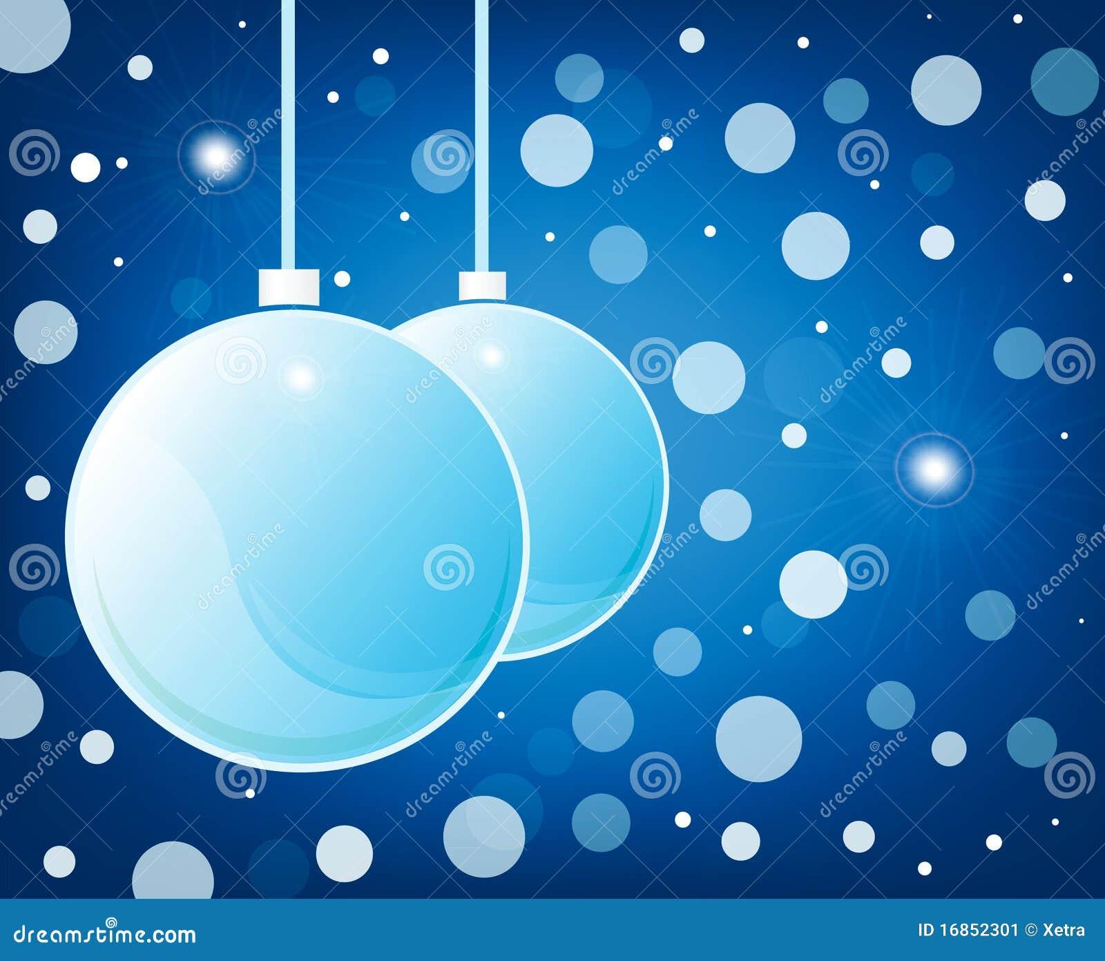 Esferas lustrosas do Natal azul no fundo azul