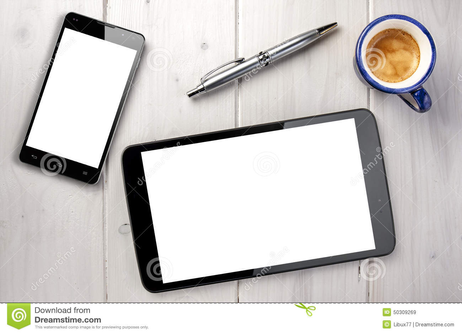 Esferográfica de Smartphone Whitespace do café da tabuleta