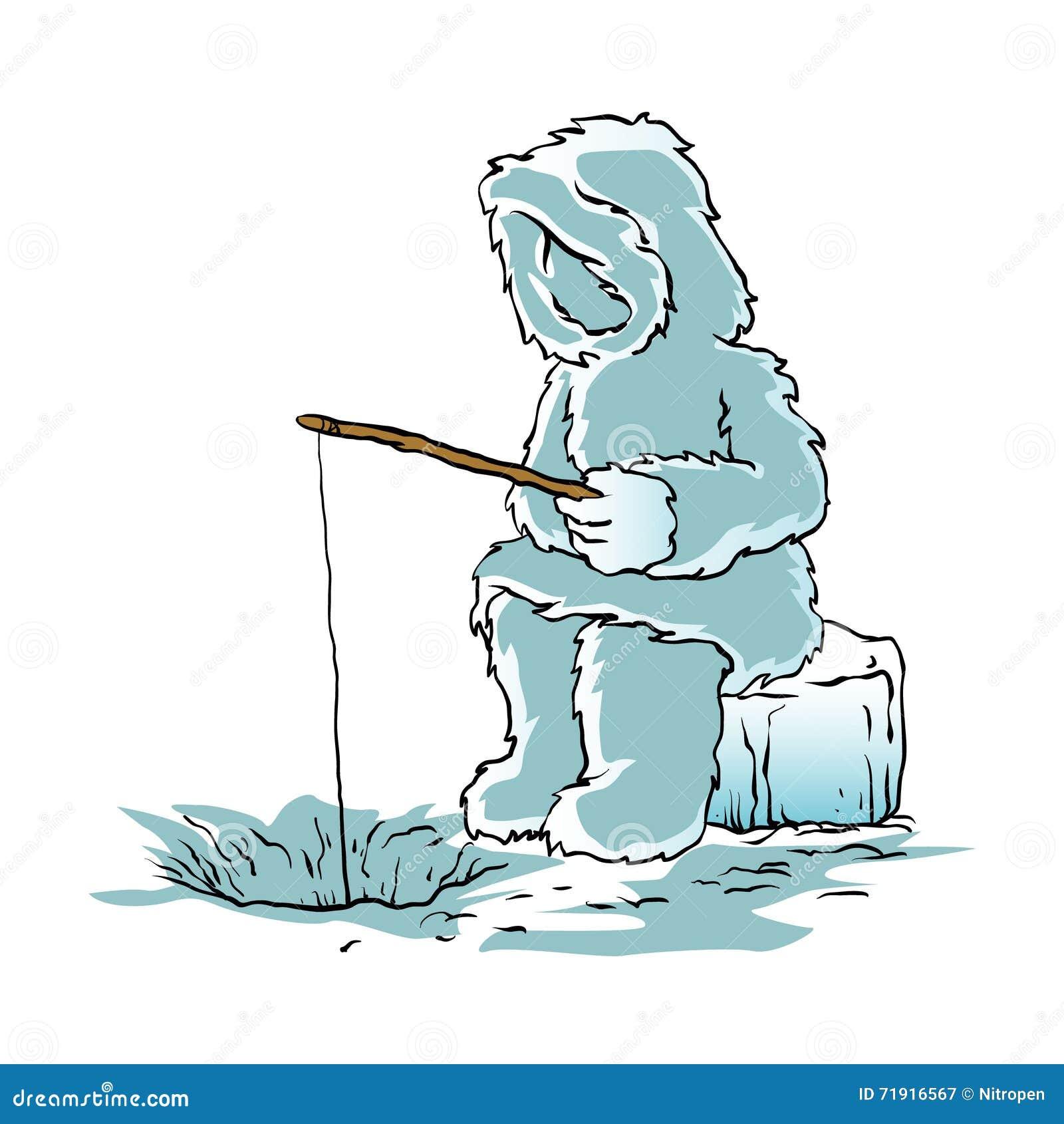 eskimo fishing for fish stock vector image 71916567