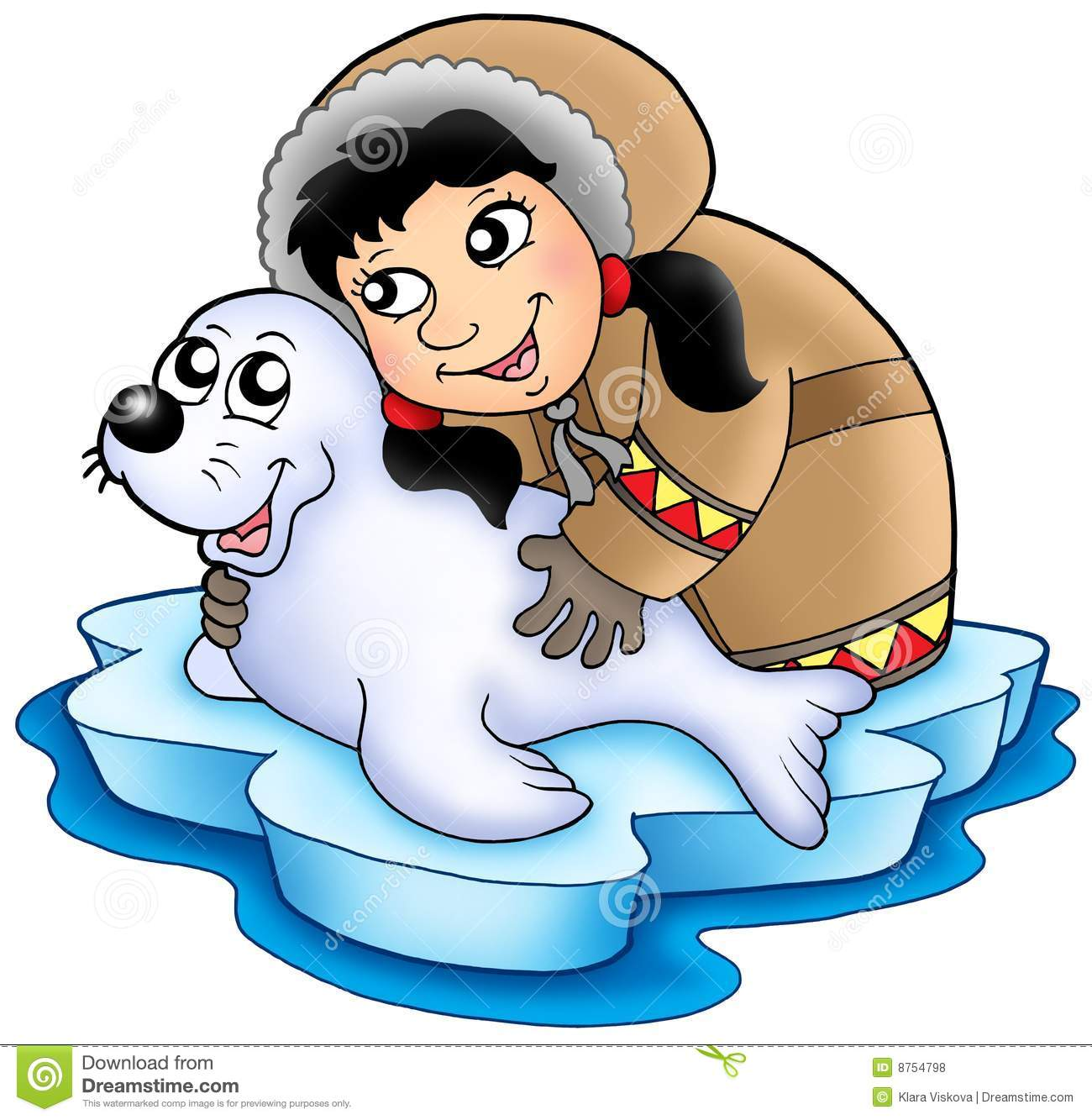 Eskimo Girl With Baby Seal Royalty Free Stock Photos - Image: 8754798