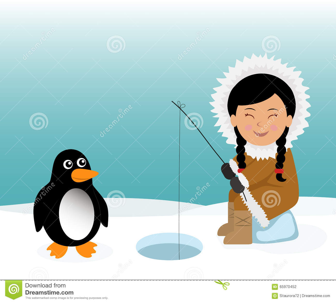 Stock Vector: Eskimo and penguin fishing for fish. Concept background ...