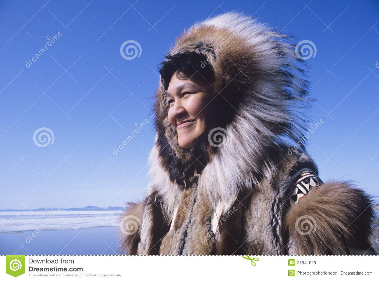 Download Eskimo Woman In Traditional Clothing Stock Photo - Image of horizontal, closeup: 31841828