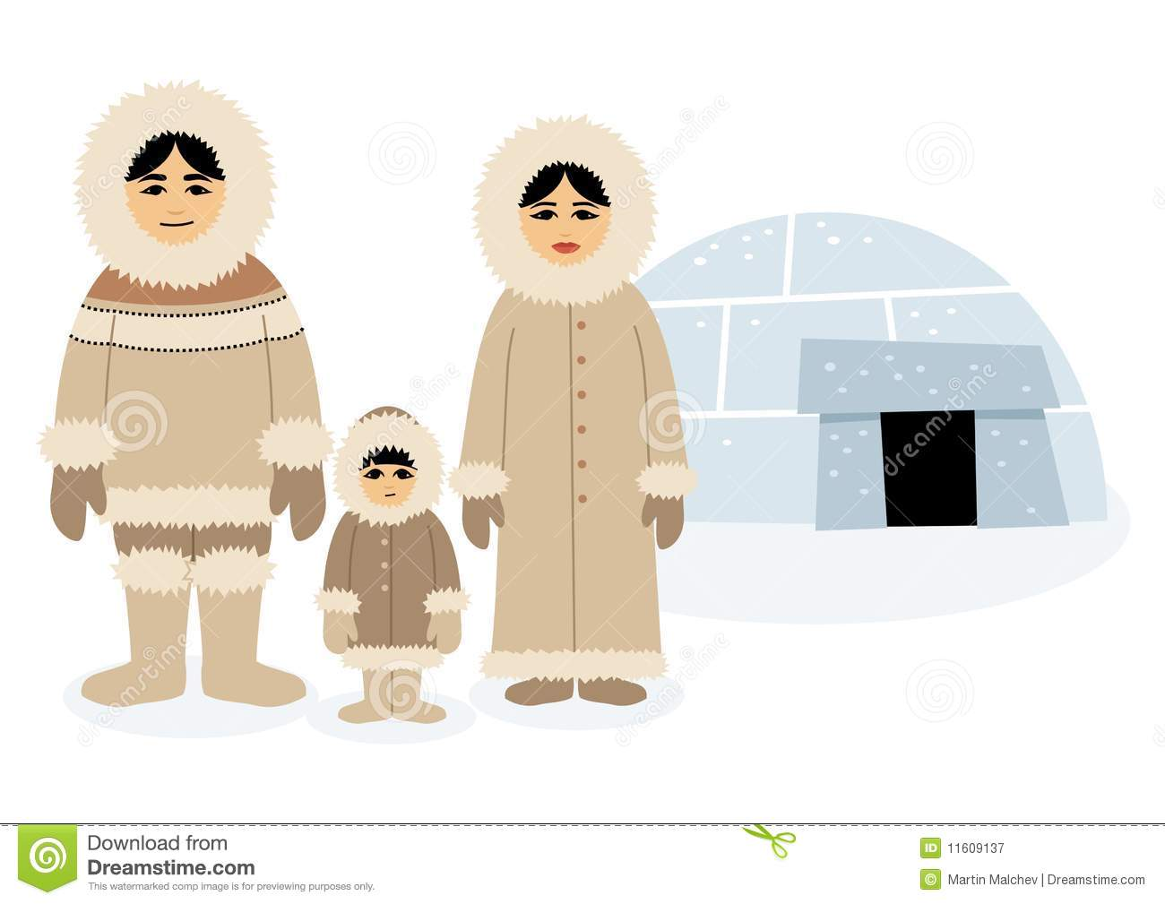 Eskimo family, posing in front of their igloo. Each character as well ...