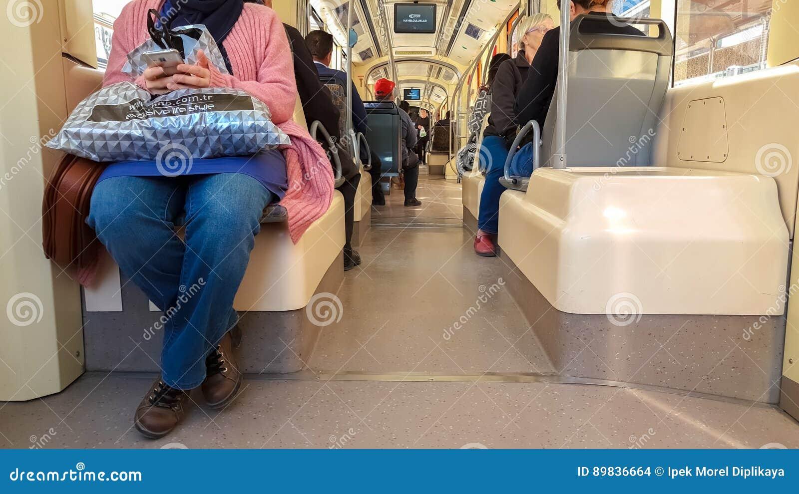 Eskisehir, Turkey - April 03, 2017: Passengers on Eskisehir tramway
