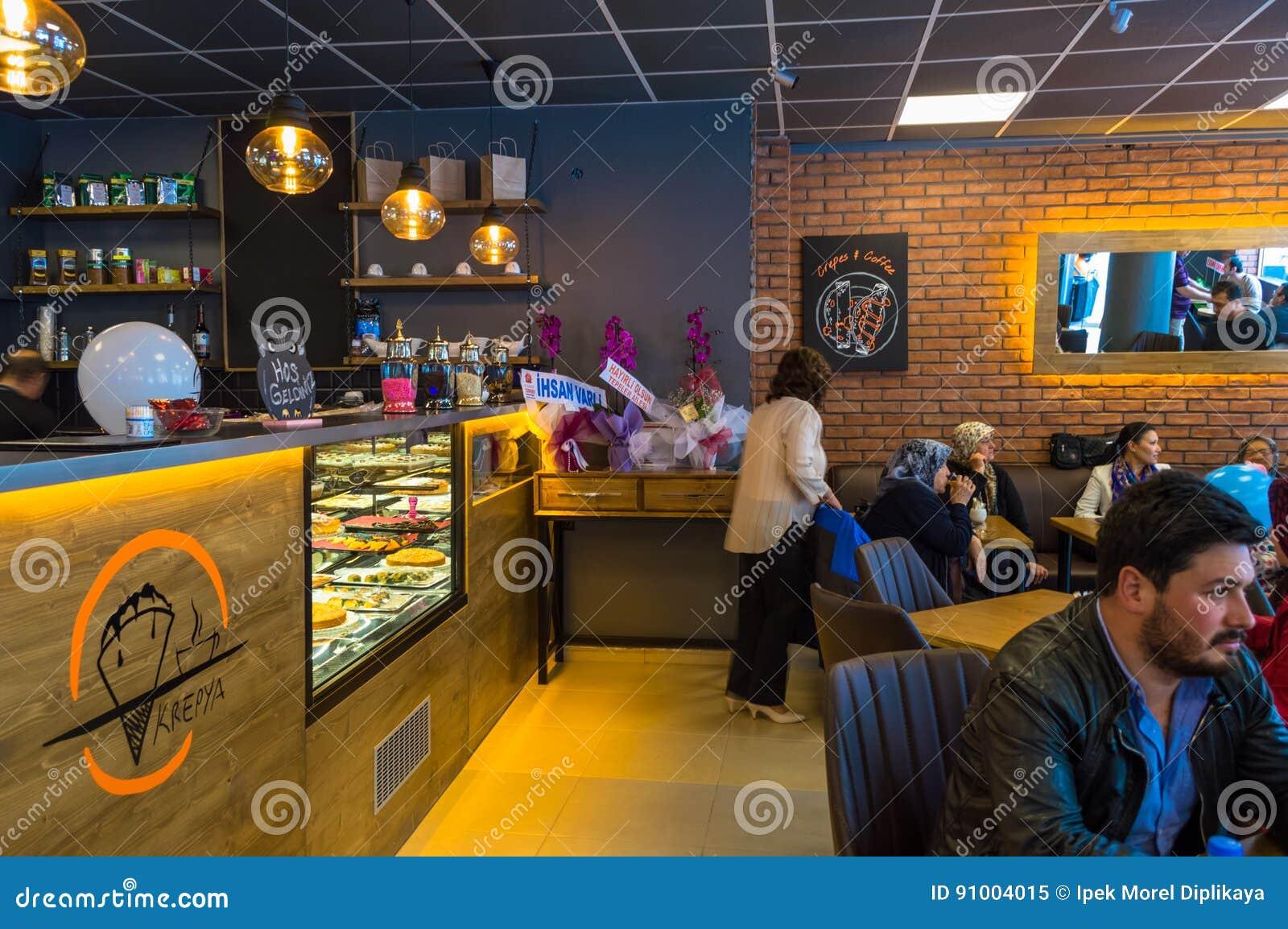 Eskisehir, Turkey - April 15, 2017: People sitting in a cafe shop