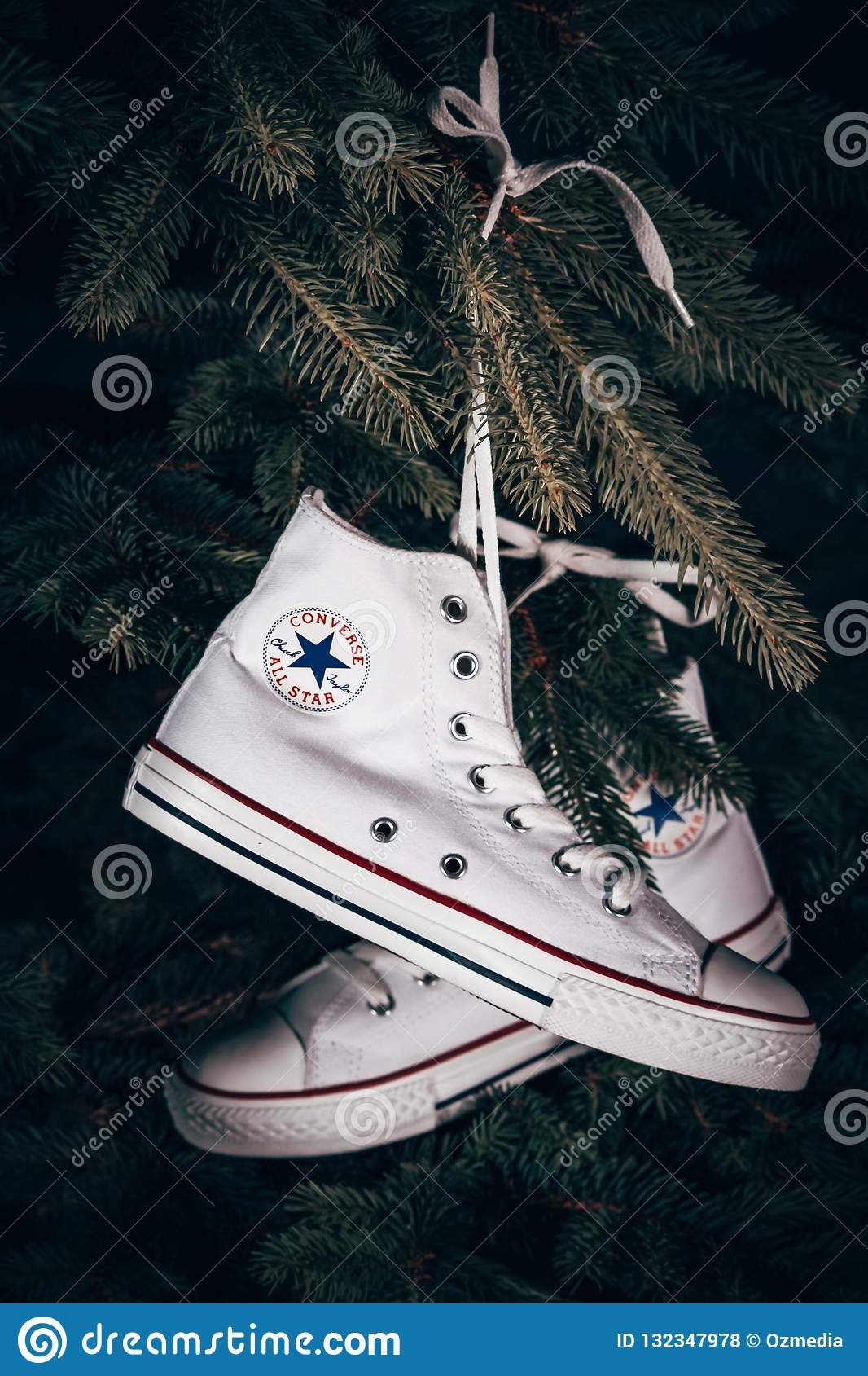 97f4d0f10a82 Converse Sports Shoes Hanged On Pine Tree Editorial Stock Photo ...